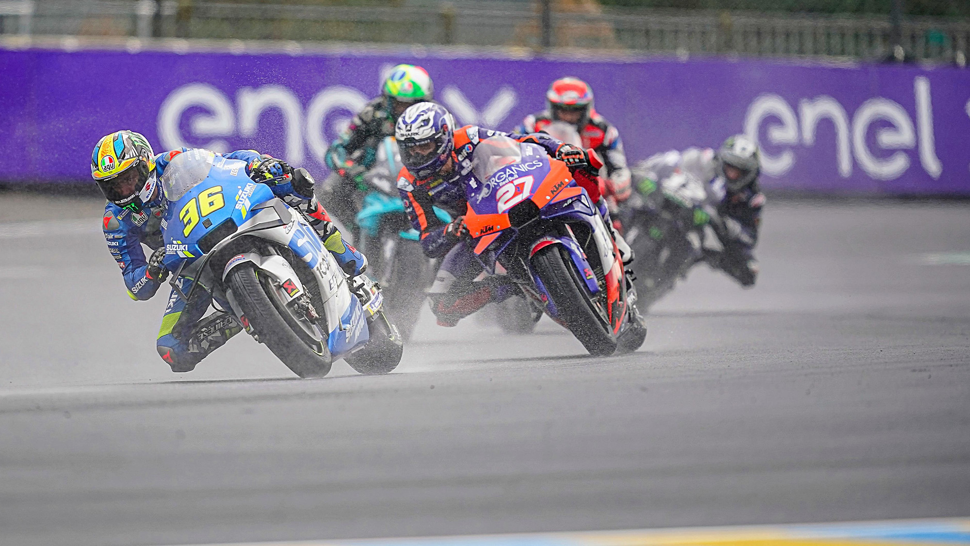 Joan Mir in the rain on his Suzuki during the 2020 MotoGP French Grand Prix at Le Mans