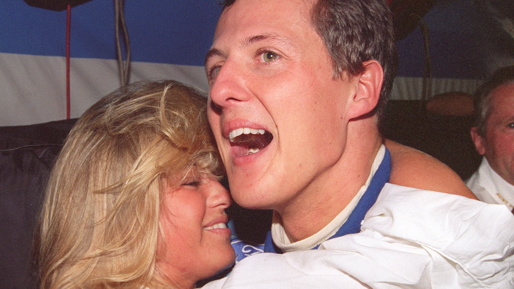 Michael Schumacher celebrates winning his first Formula 1 championship with Corinna at the 1994 Australian Grand Prix in Adelaide