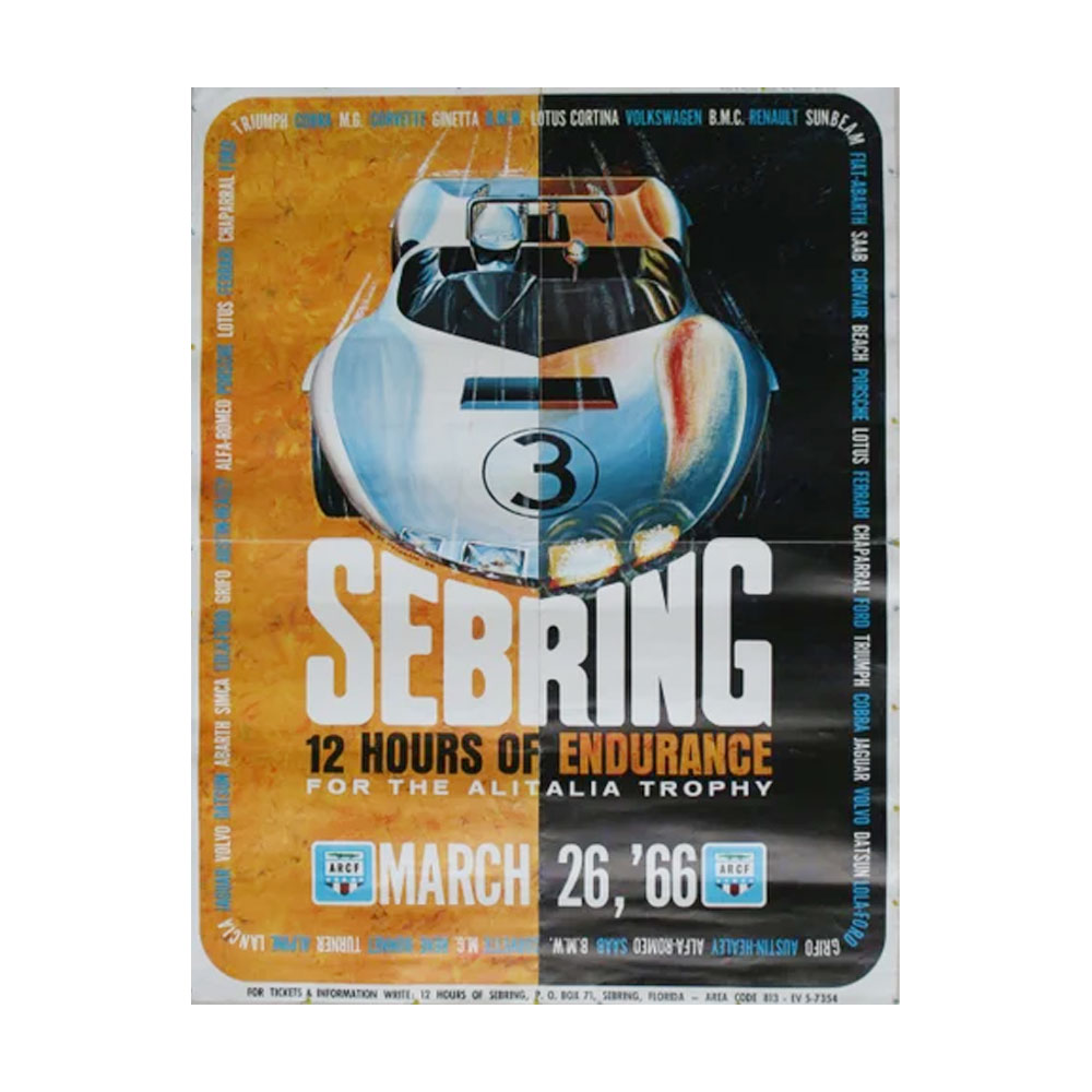 Product image for 12 Hours Of Sebring 1966 March 26 Official Race Poster   Original Poster   Signed