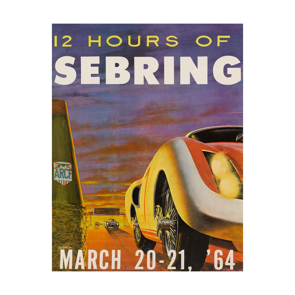 Product image for 12 Hours Of Sebring 1964 March 20 - 21 | Official Race Poster | Signed