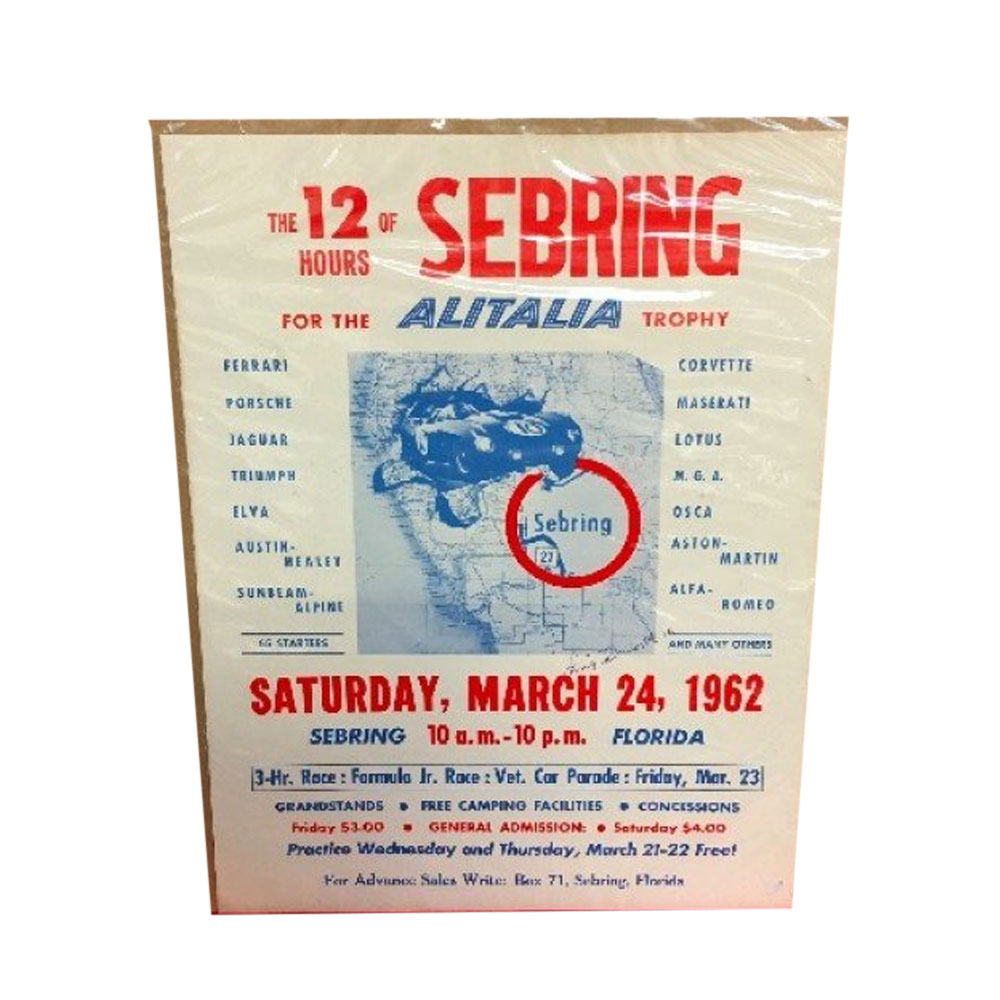 Product image for 12 Hours Of Sebring 1962 March 24   Official Race Poster   Signed