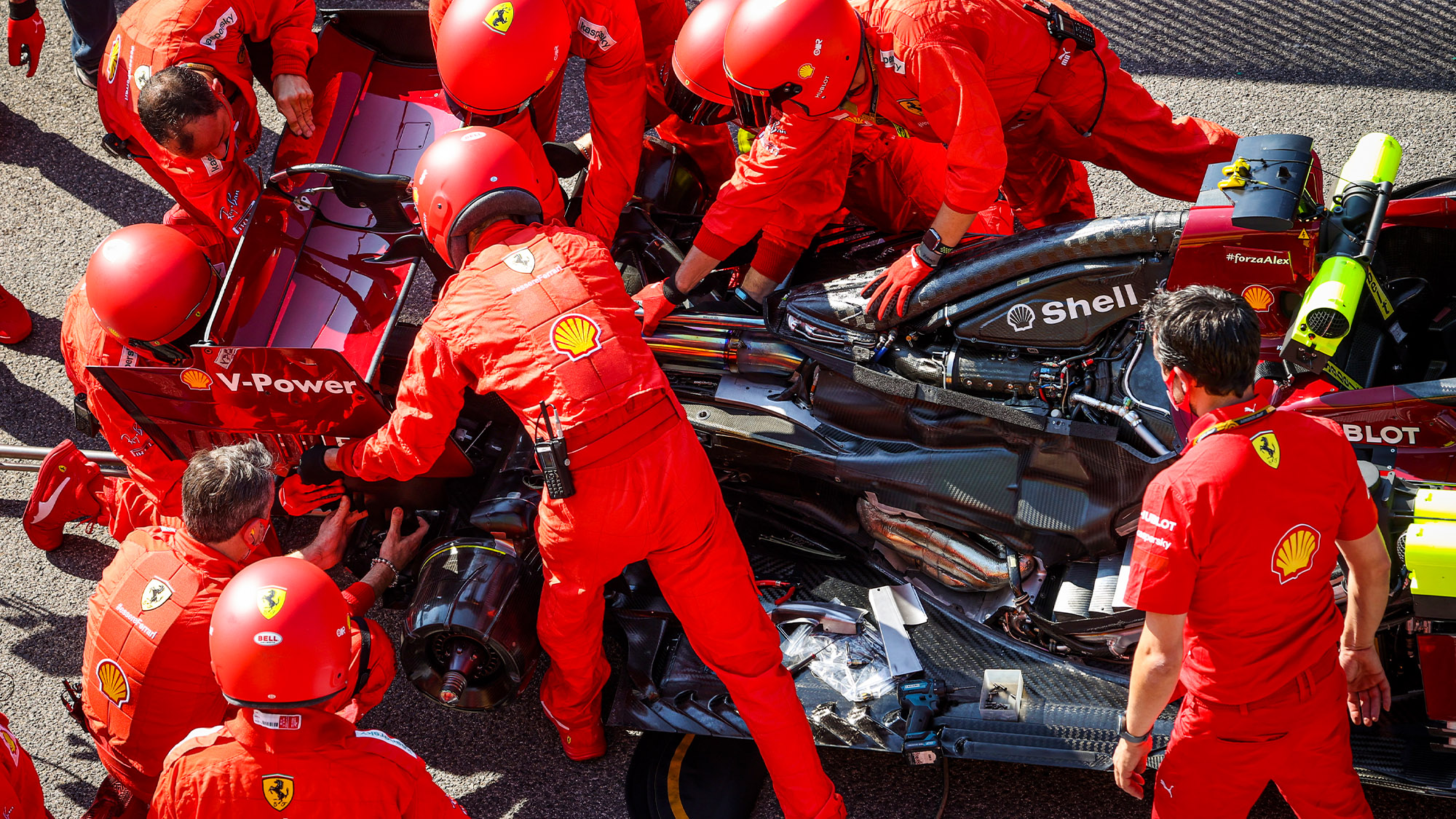 Ferrari SF1000 hybrid engine exposed at Imola for the 2020 Emilia Romagna F1 Grand Prix