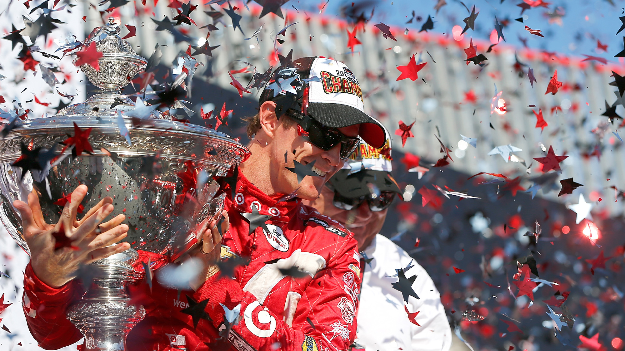 Scott Dixon celebrates victory in the race and championship at the 2015 Grand Prix of Sonoma