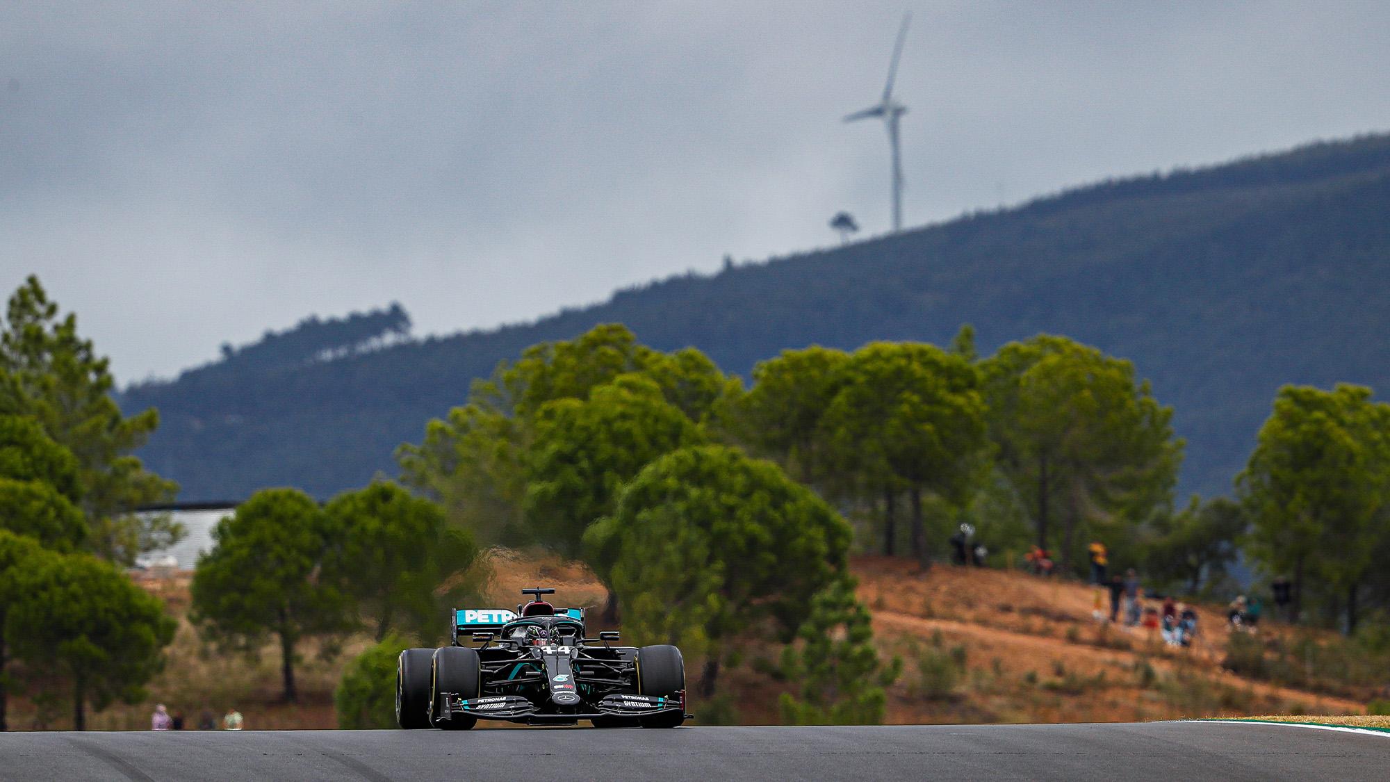 Lewis Hamilton's Mercedes on track at Portimao during the 2020 F1 Portuguese Grand Prix