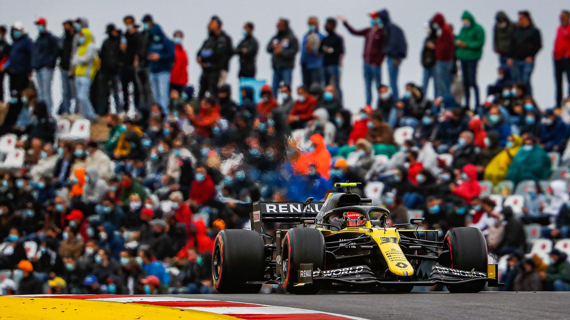 Esteban Ocon in front of crowds at the 2020 F1 Portuguese Grand Prix at Portimao