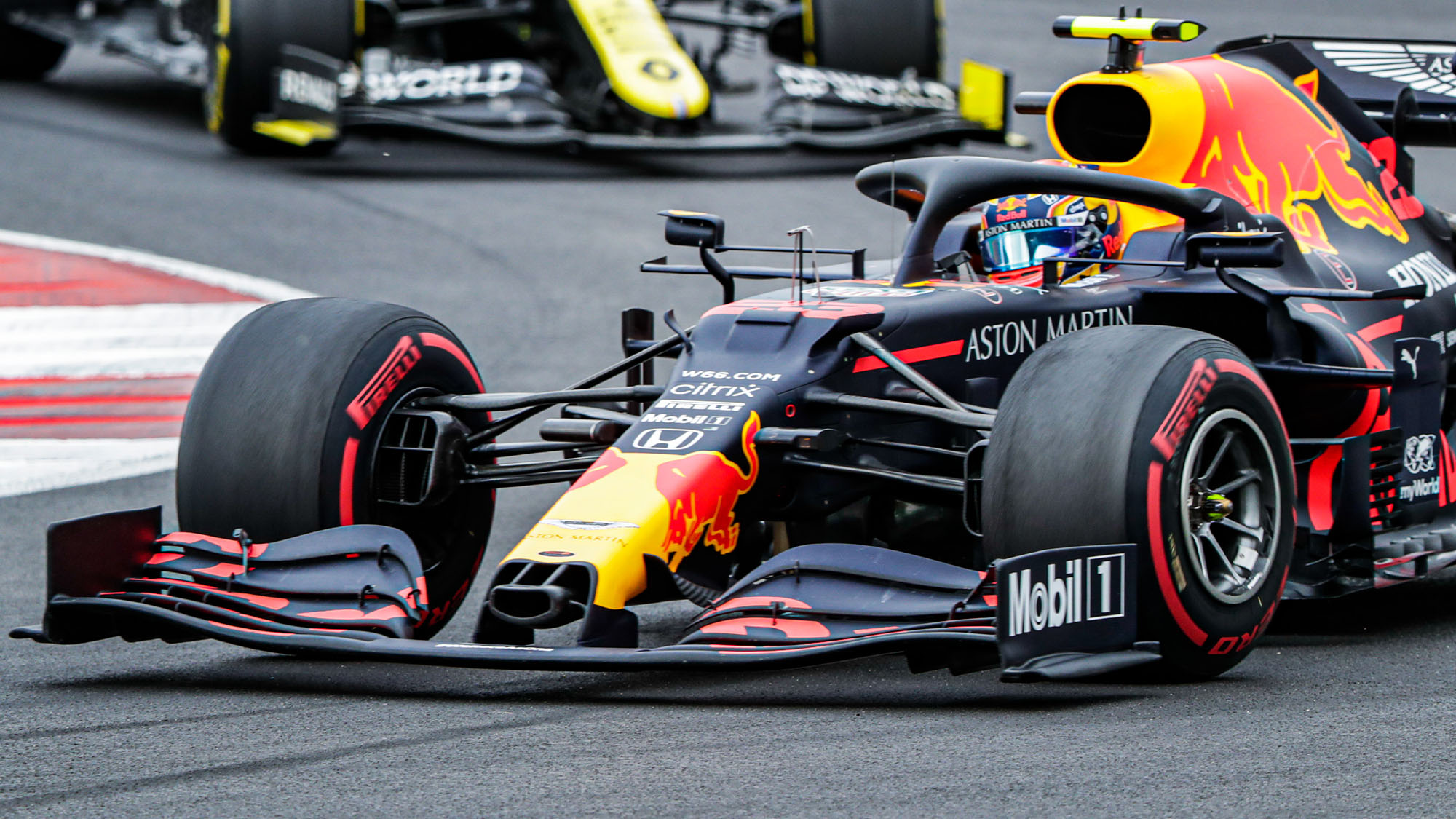 Alex Albon's Red Bull with soft tyres during the 2020 F1 Portuguese Grand Prix at Portimao