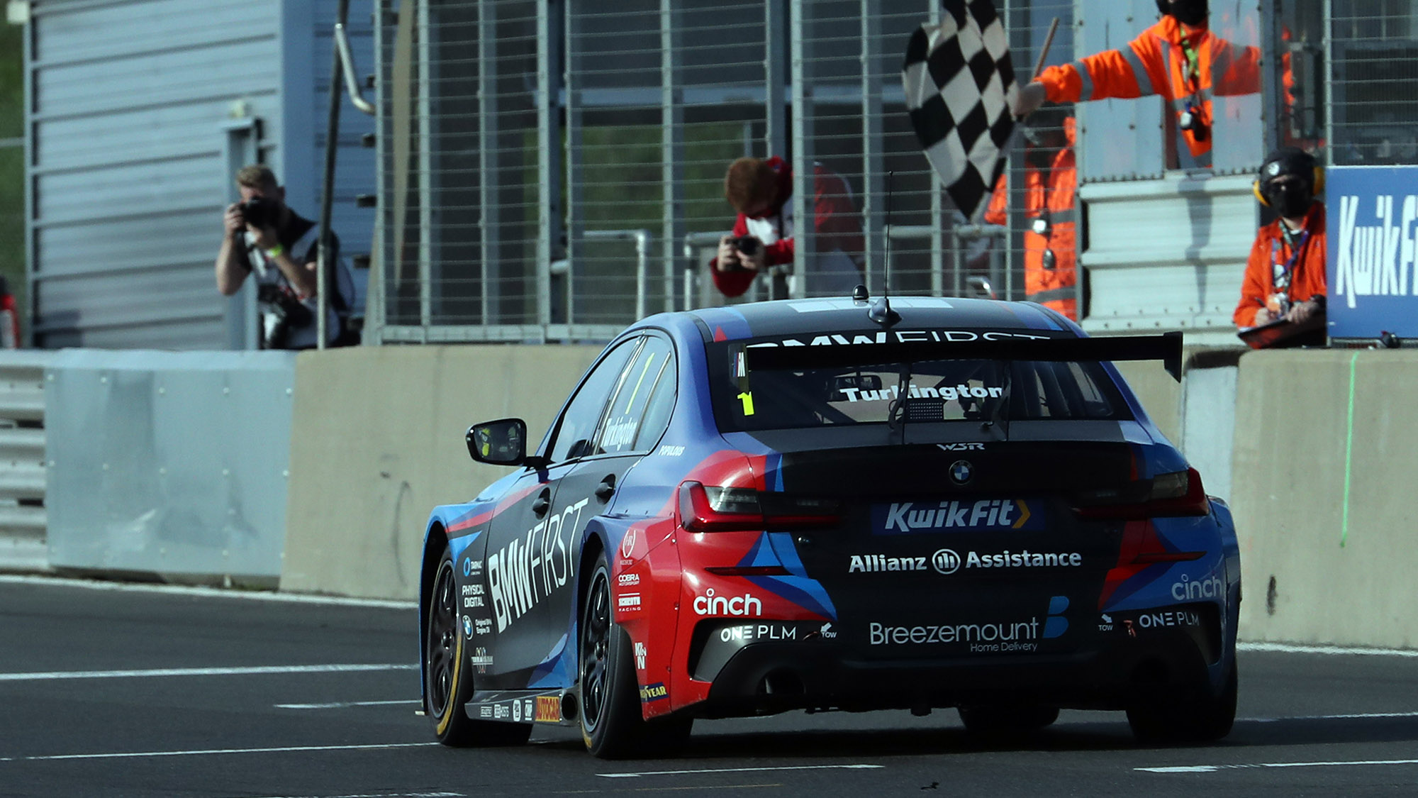 Colin Turkington crosses the line to win at Snetterton in the 2020 BTCC round