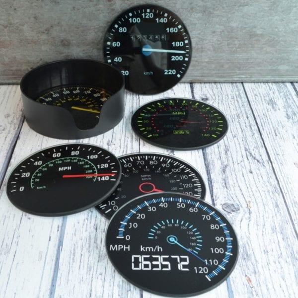 coasters black drinks speedometer
