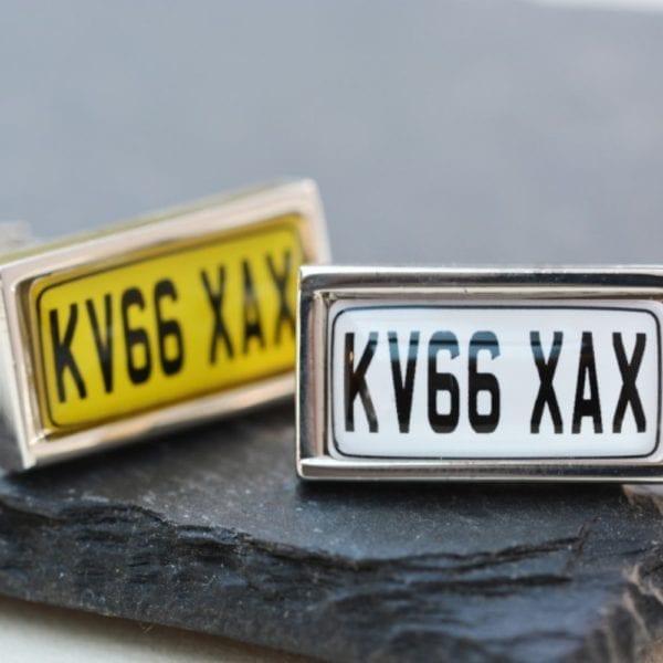 number plate cufflinks yellow white