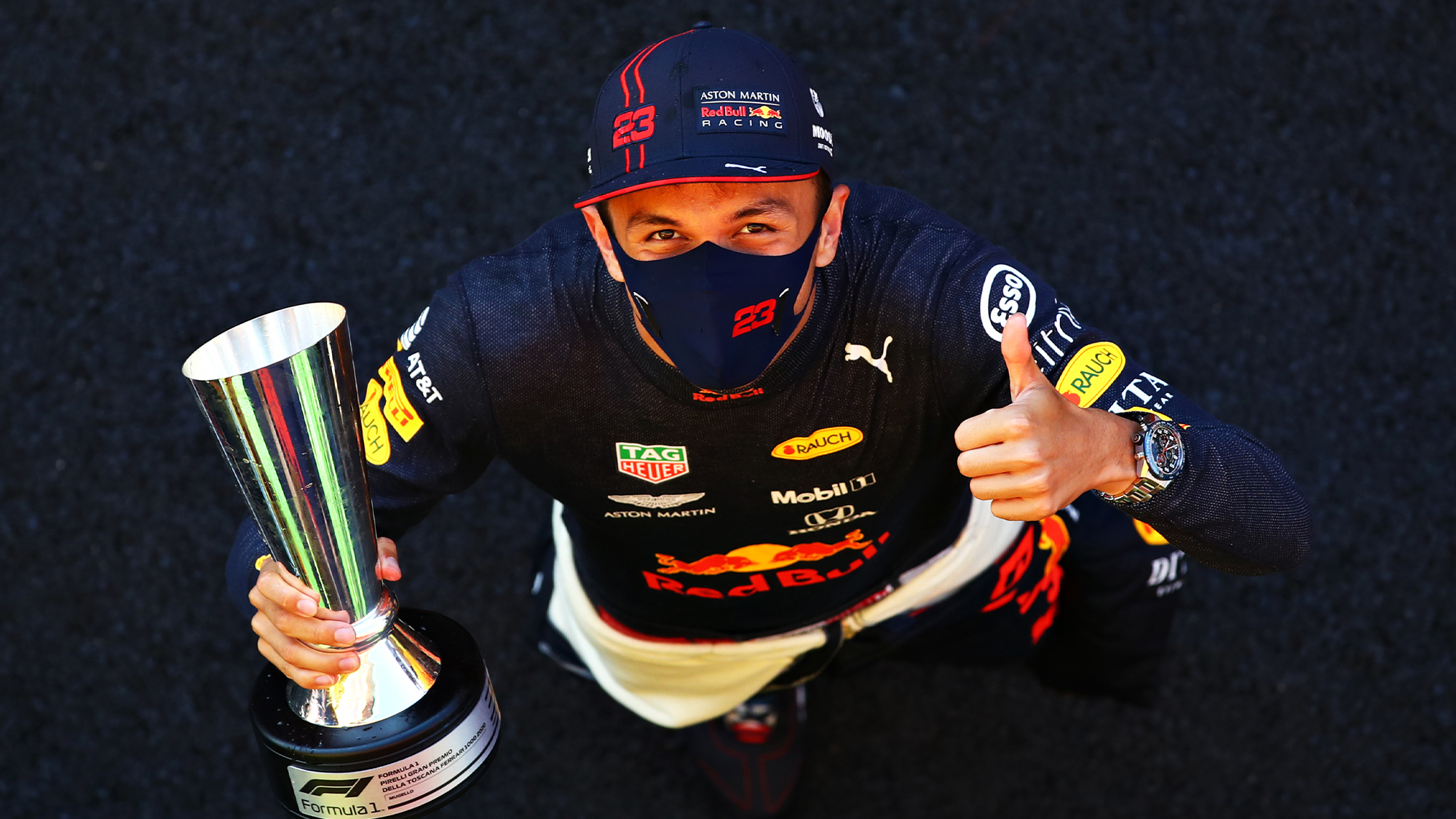 Alex Albon holds his trophy after finishing in third place in the 2020 F1 Tuscan Grand Prix at Mugello