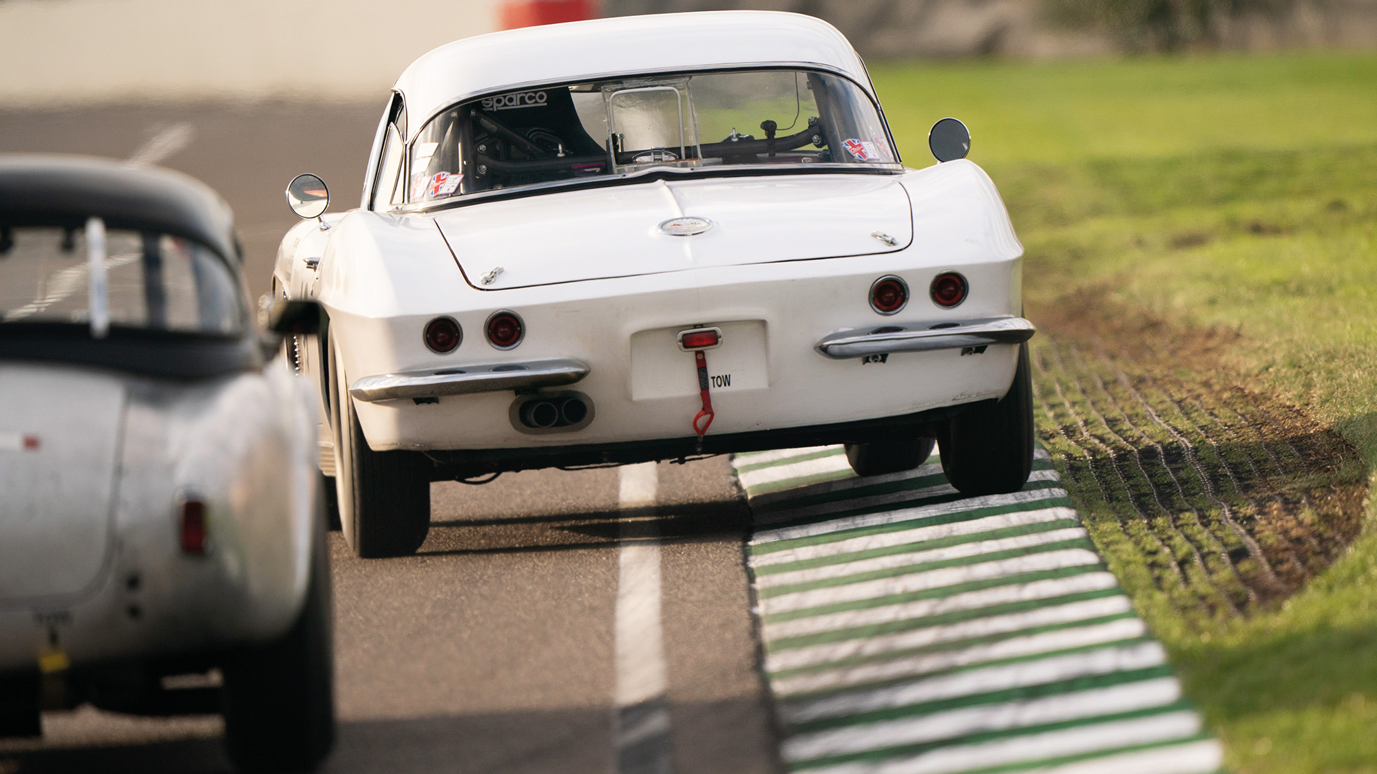 Rear view of a car during Goodwood SpeedWeek 2020