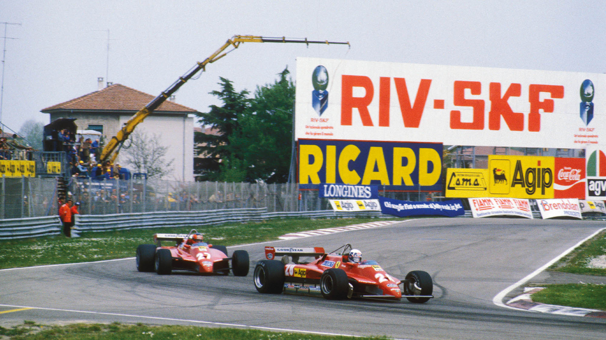 Didier Pironi and GIlles Villeneuve at Imola during the 1982 San Marino Grand Prix