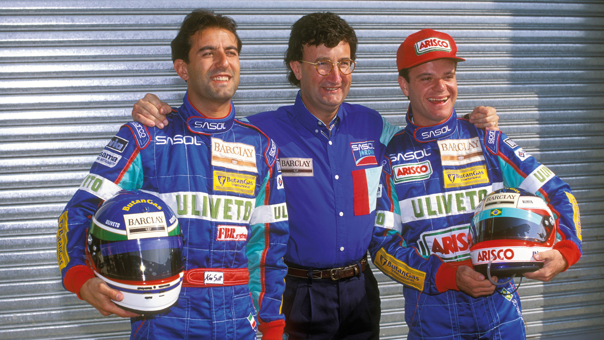 Ivan Capelli and Rubens BArrichello with Eddie Jordan before the 1993 South African Grand Prix