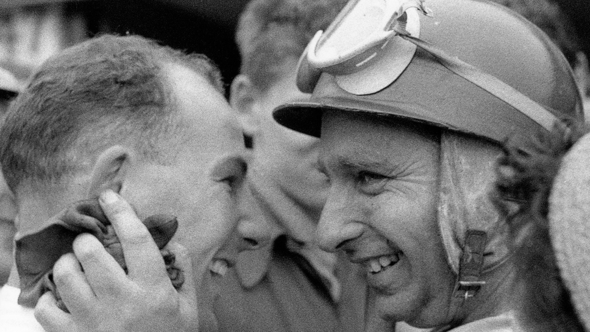 Stirling Moss with Juan Manuel Fangio
