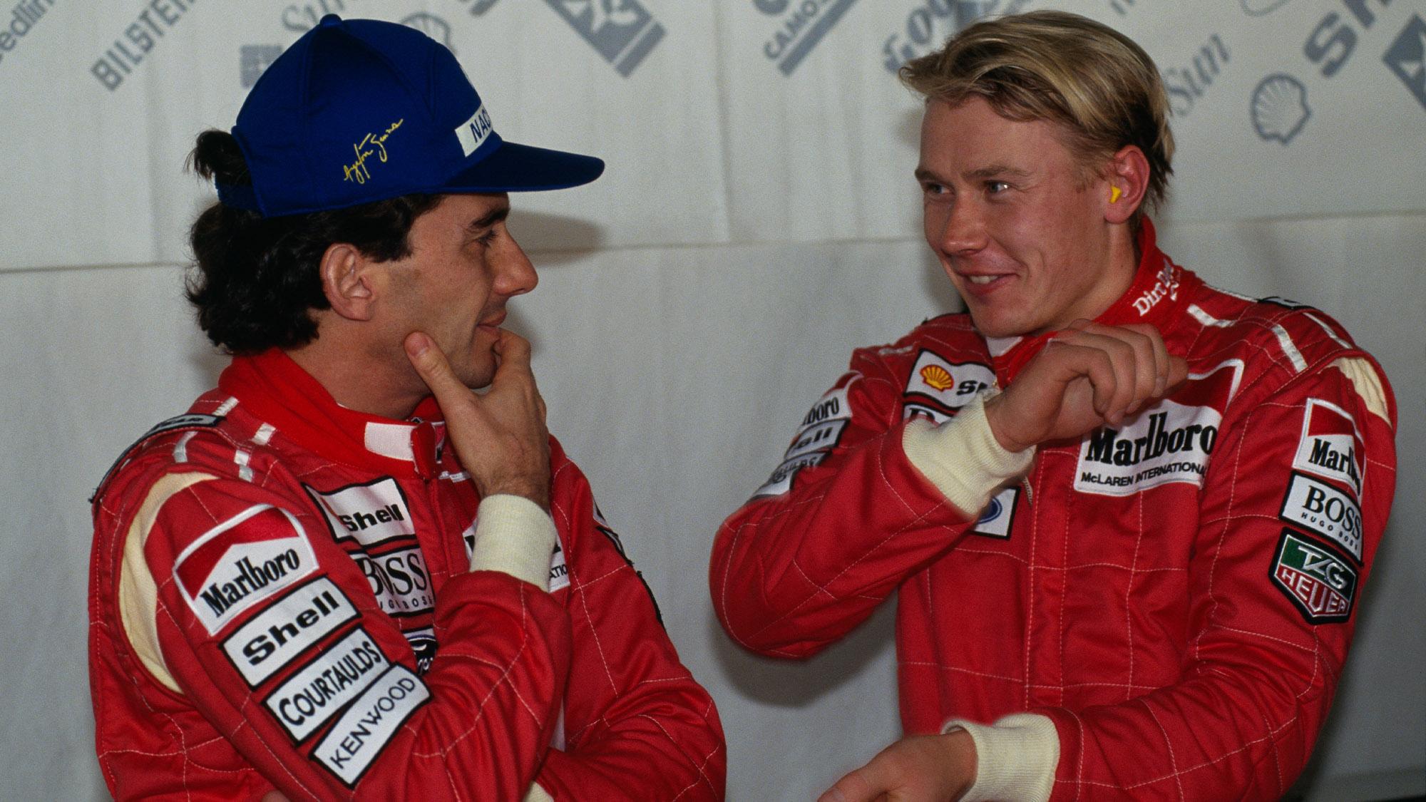 McLaren team-mates Mika Hakkinen and Ayrton Senna
