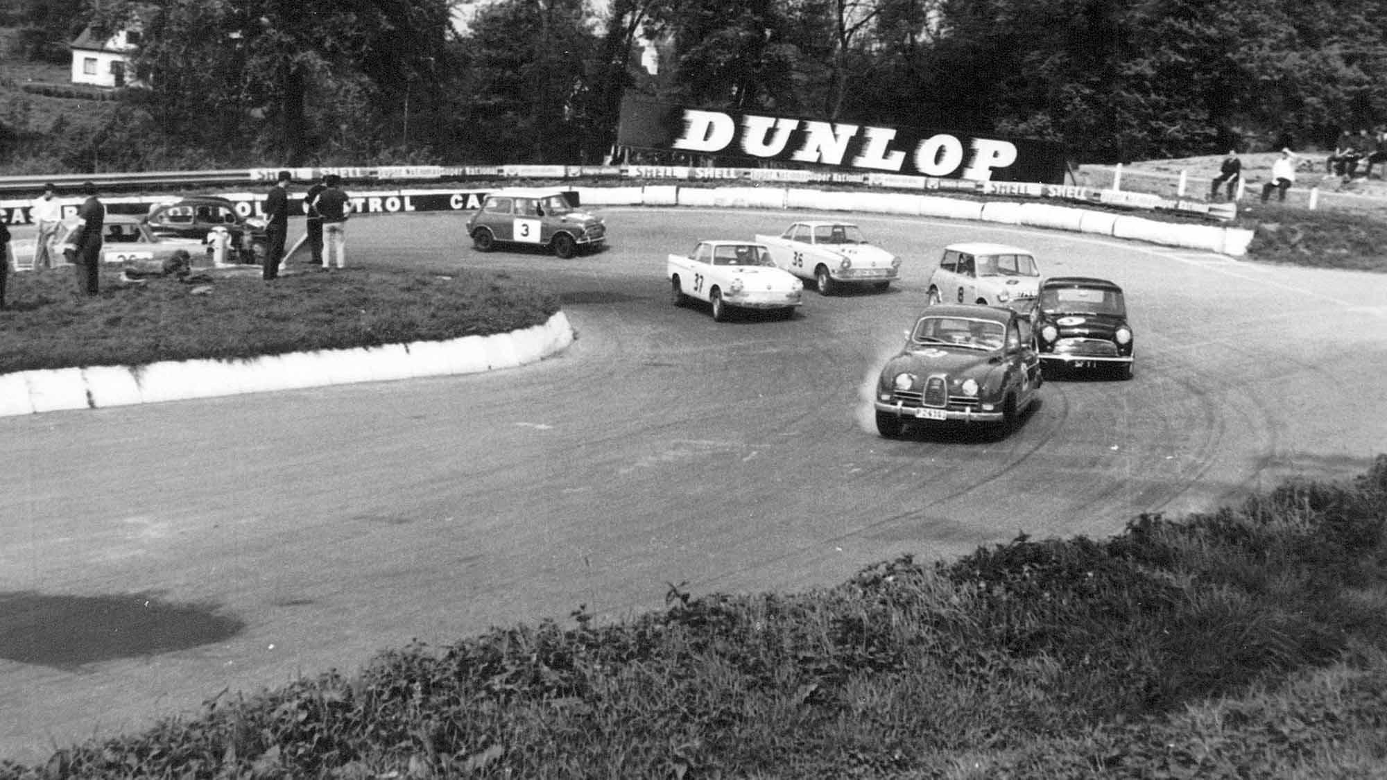 Saab 96 leads at Mallory Park during the 1964 Motor National Three Hours