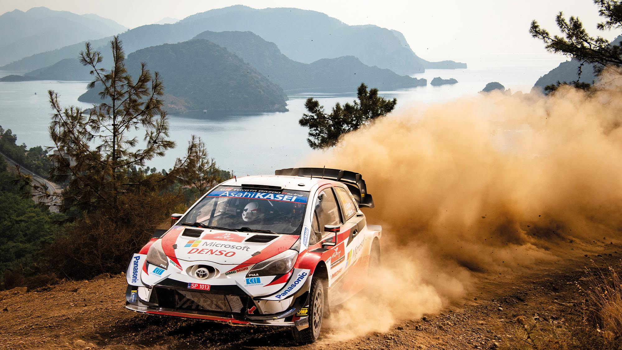 Elfyn Evans heads to victory in his Toyota Yaris on the 2020 WRC Rally Turkey