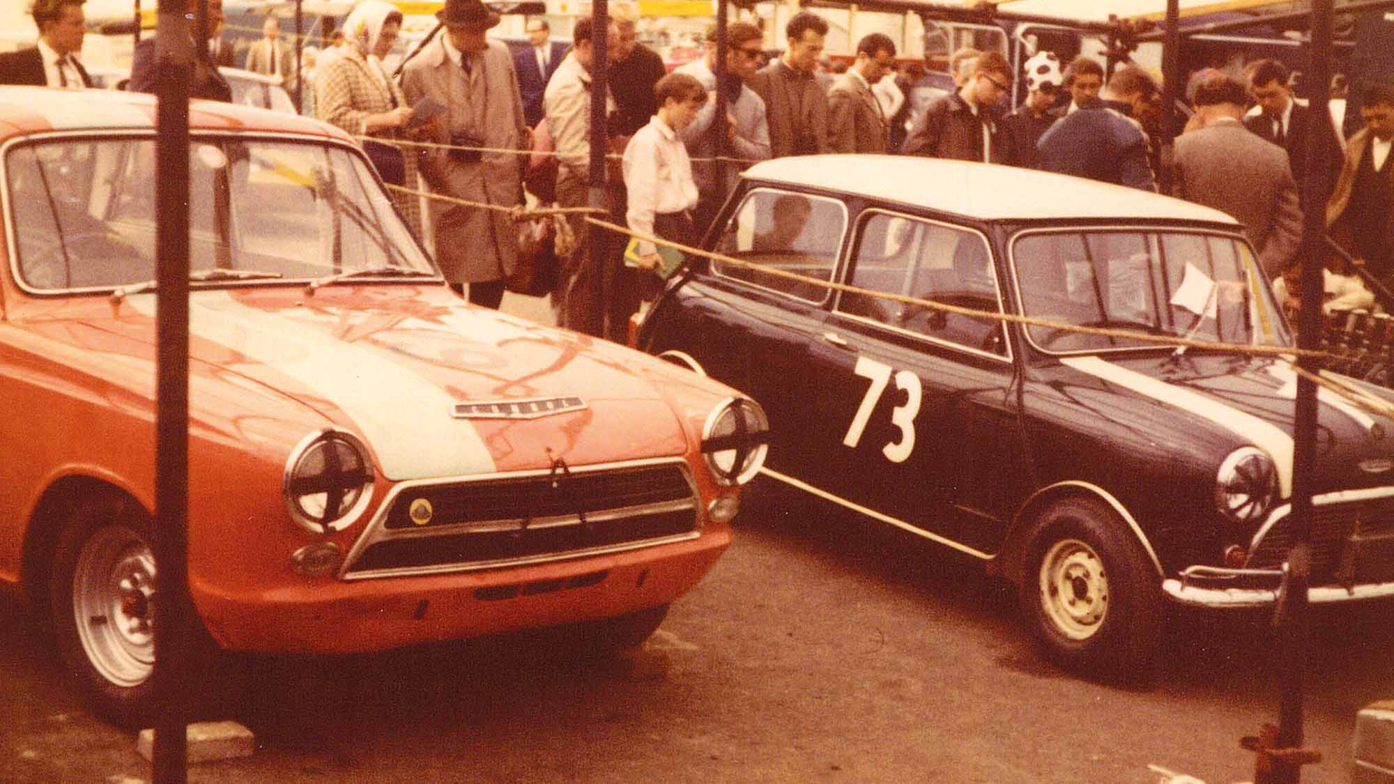 Ford Cortina and Mini in the Brands Hatch paddock during the 1964 British Grand Prix meeting