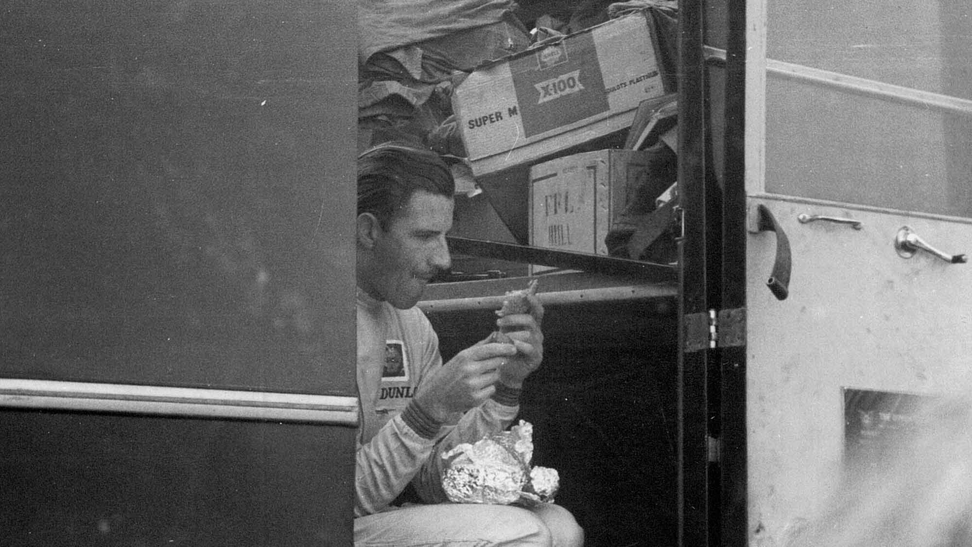 Graham Hill in the Maranello Concessionaires truck at Goodwood for the 1964 Sussex Trophy