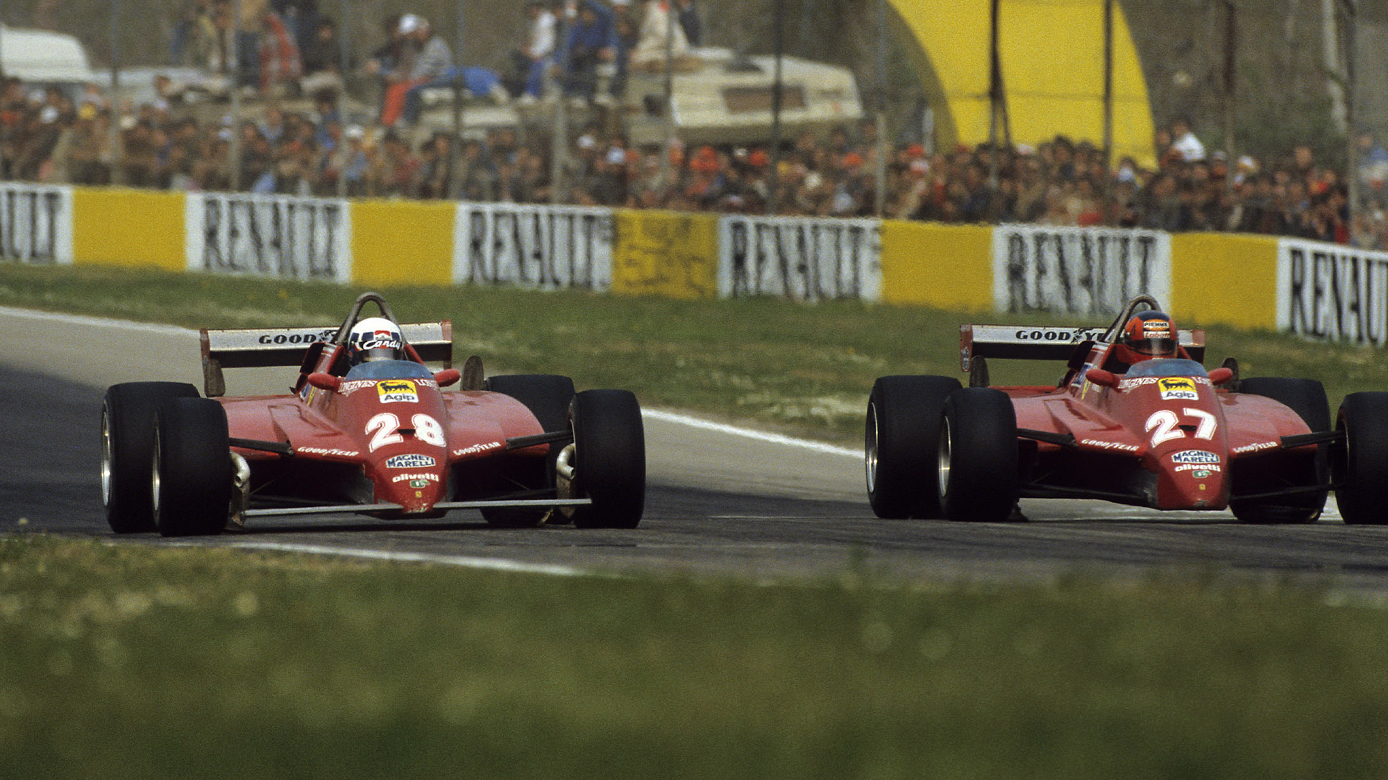 Didier Pironi and Gilles Villeneuve's Ferraris side by side at Imola in the 1982 San Marino Grand Prix