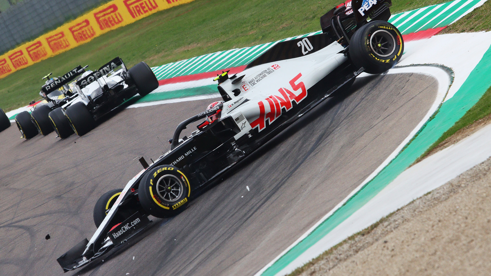 Kevin Magnussen spins on the opening lap of the 2020 F1 Emilia Romagna Grand Prix at Imola