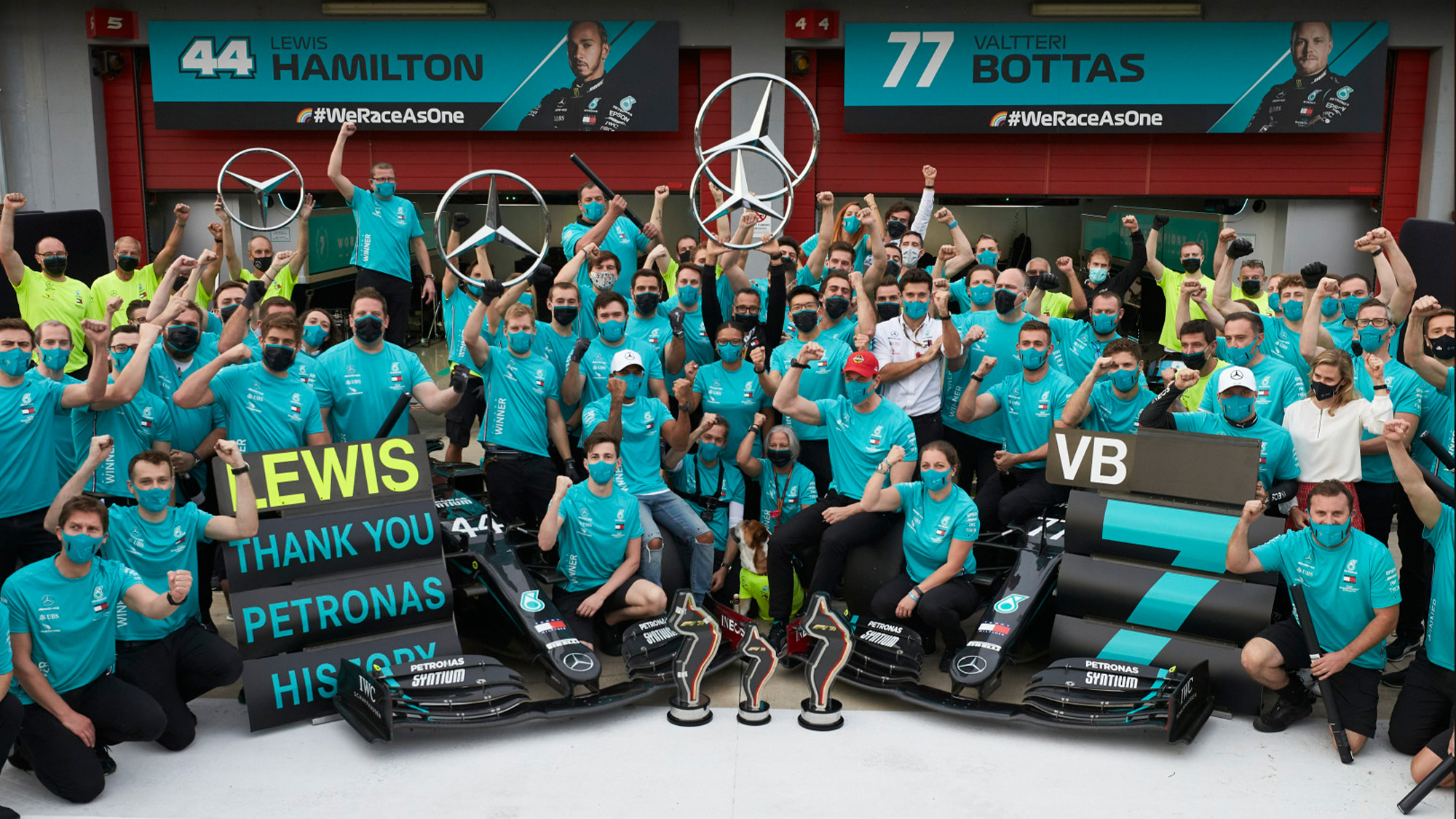 Mercedes seventh F1 constructors champioship celebration at Imola after the 2020 Emilia Romagna Grand Prix
