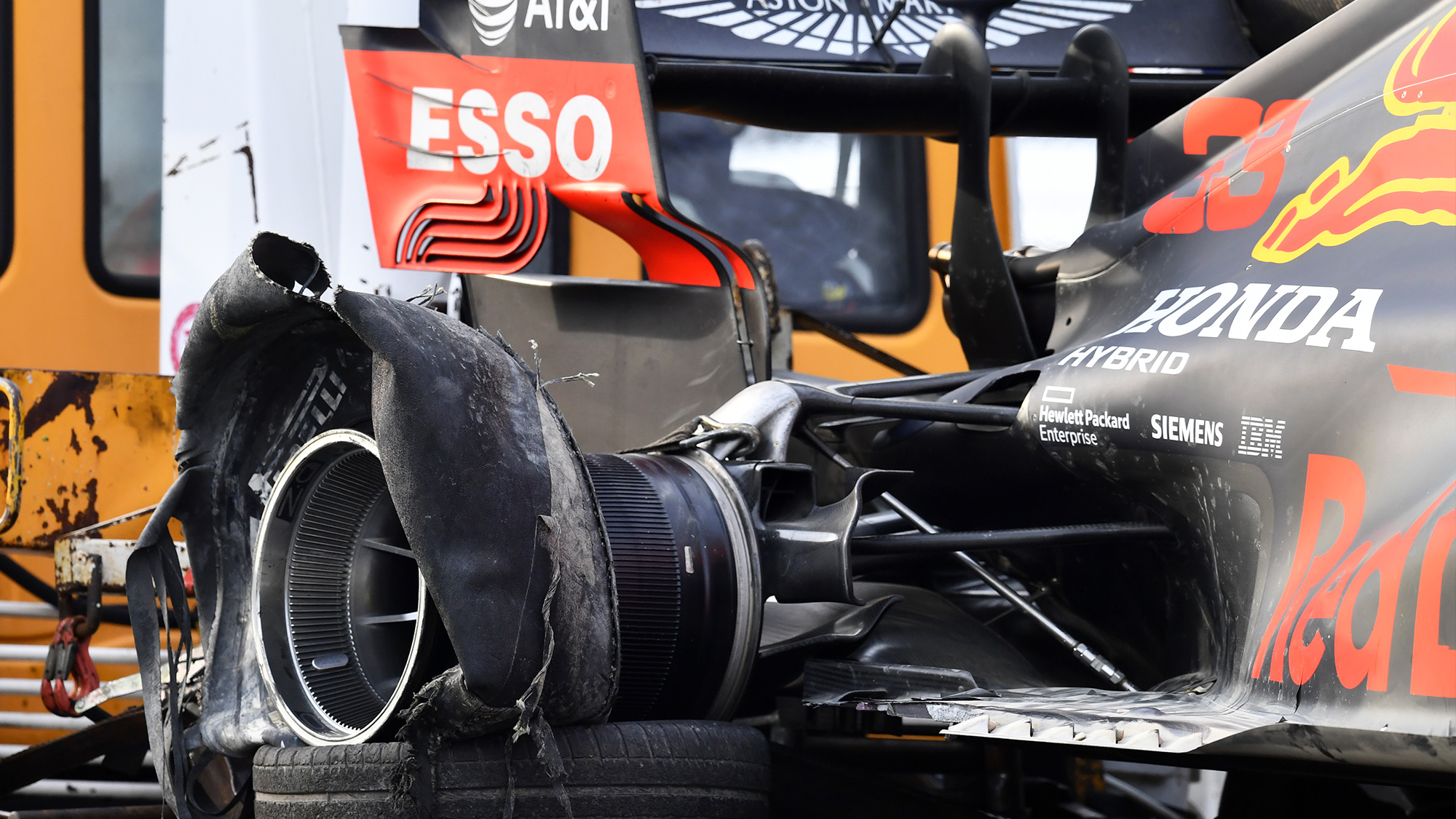 Ruined rear tyre of Max Verstappen's Red Bull after the 2020 F1 Emilia Romagna Grand Prix at Imola
