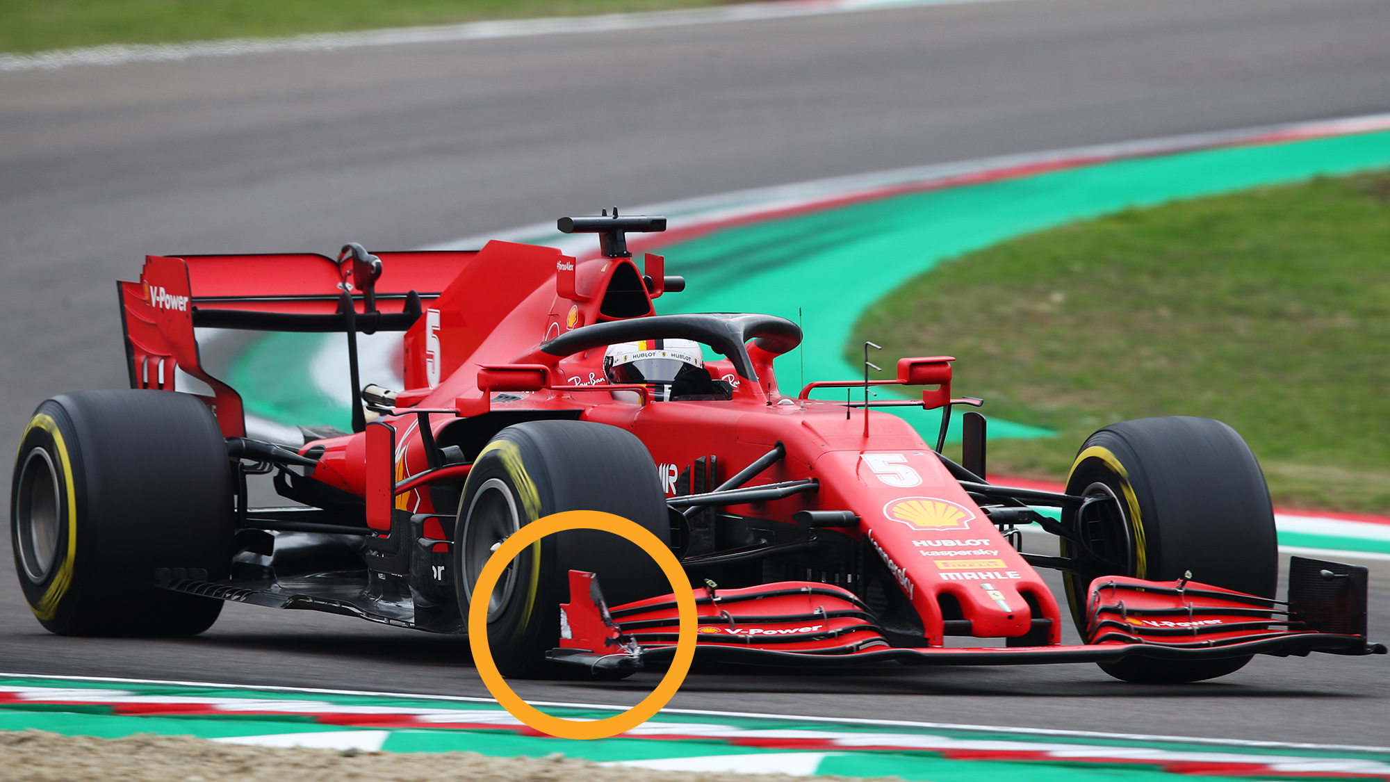 Sebastian Vettel's Ferrari with a damaged front wing endplate at Imola during the 2020 F1 Emilia Romagna Grand Prix
