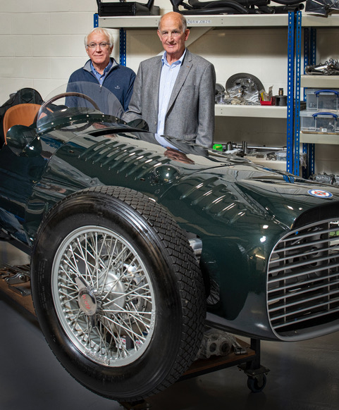 Rick Hall and John Owen with the BRM V16 continuation.model
