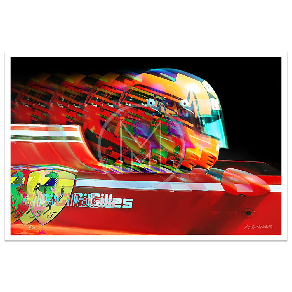 Product image for Gilles Villeneuve|  Ferrari 126C2 | 1982 | Andrew Barber | print