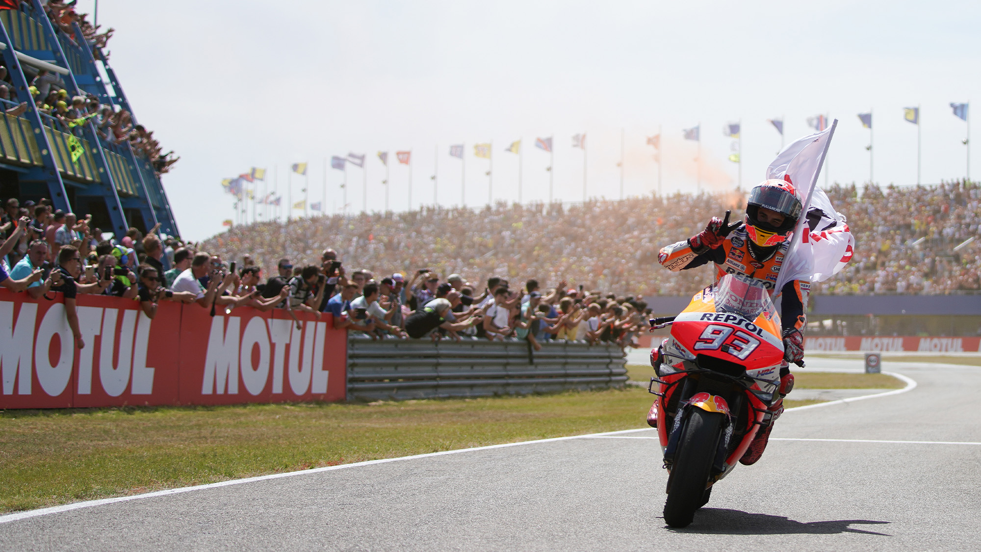 Marc Marquez celebrates victory in the 2019 MotoGP Dutch TT at Assen