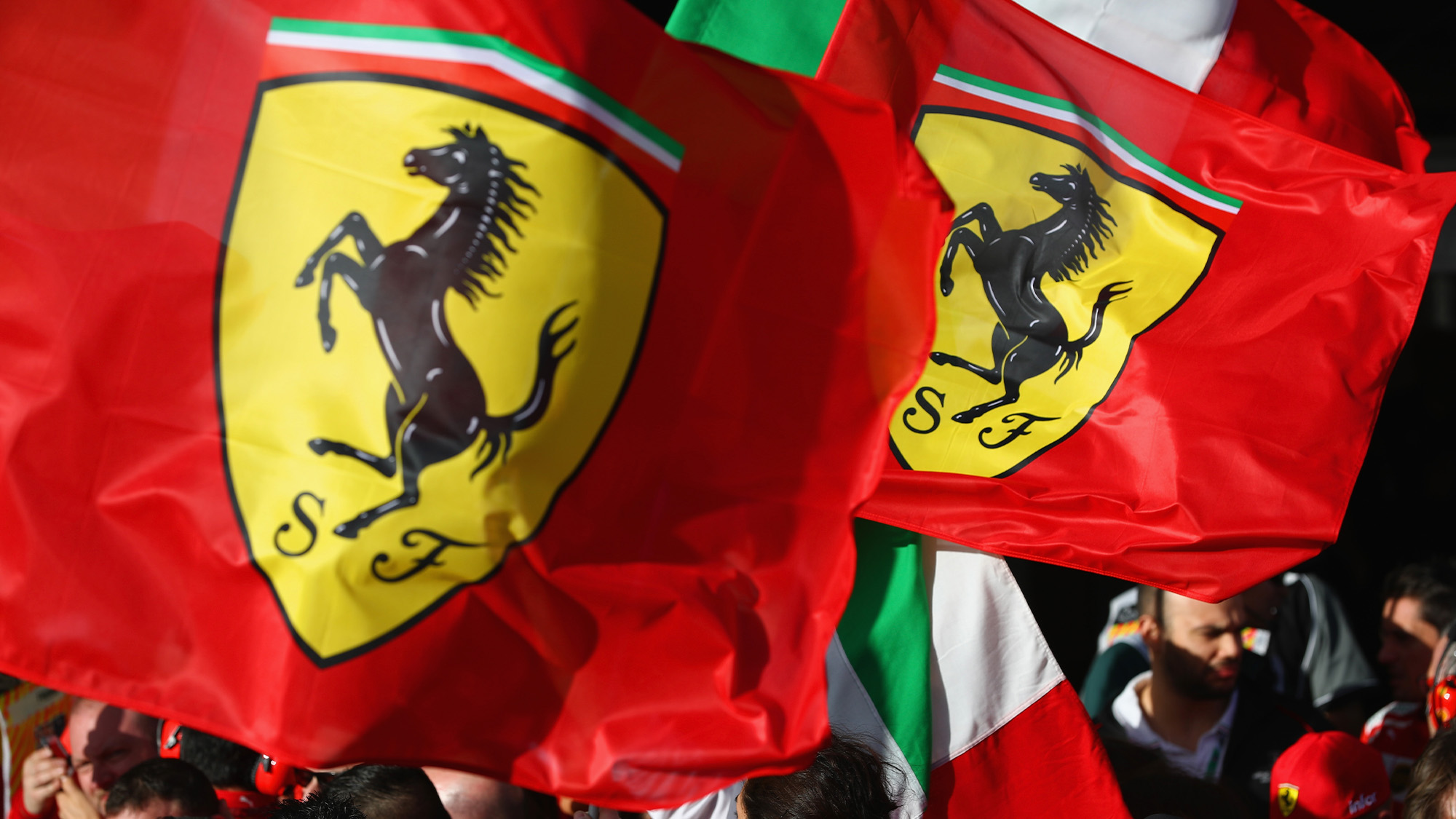 Ferrari and Italian flags