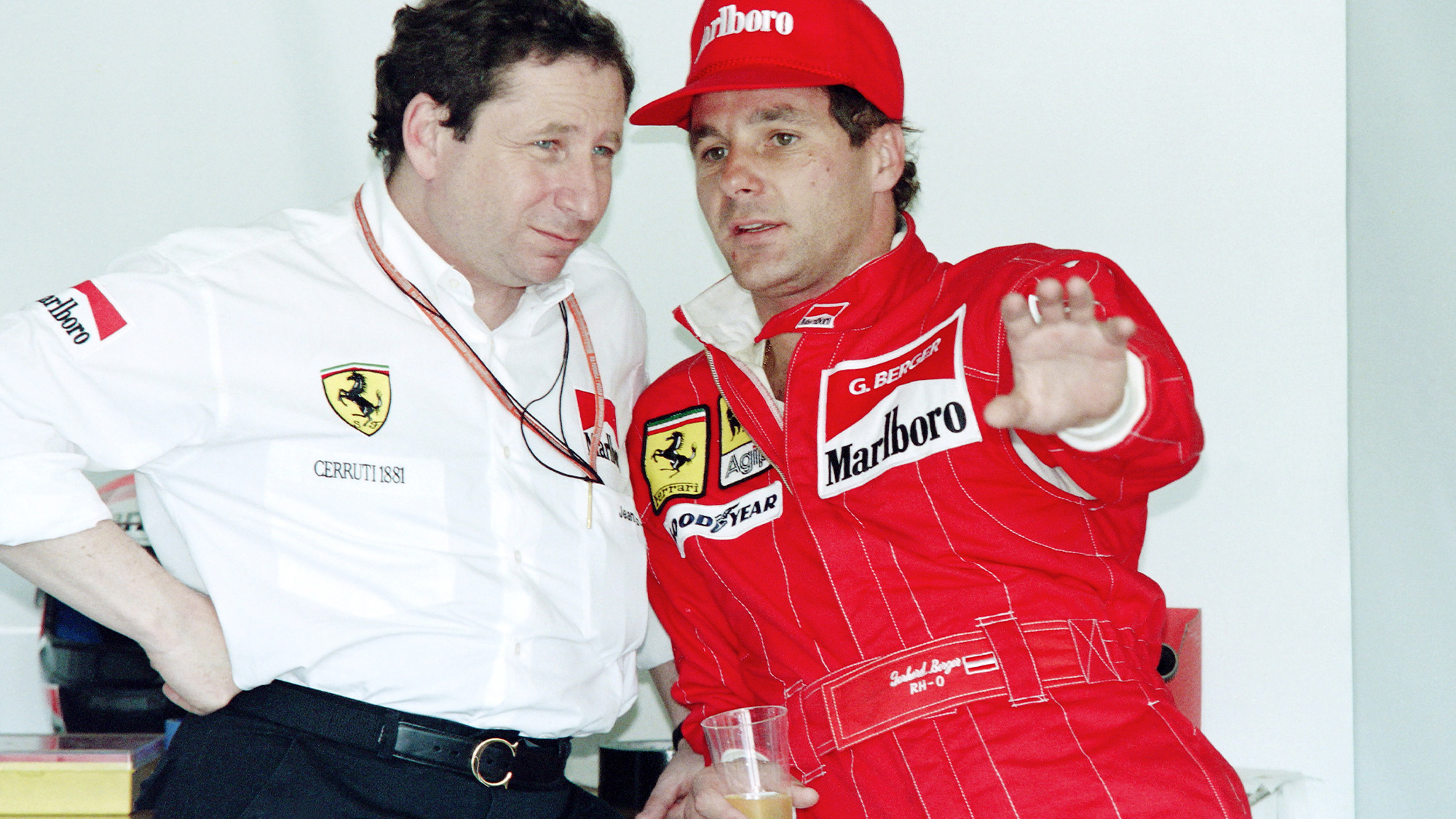 Gerhard Berger with Jean Todt at Ferrari in 1994