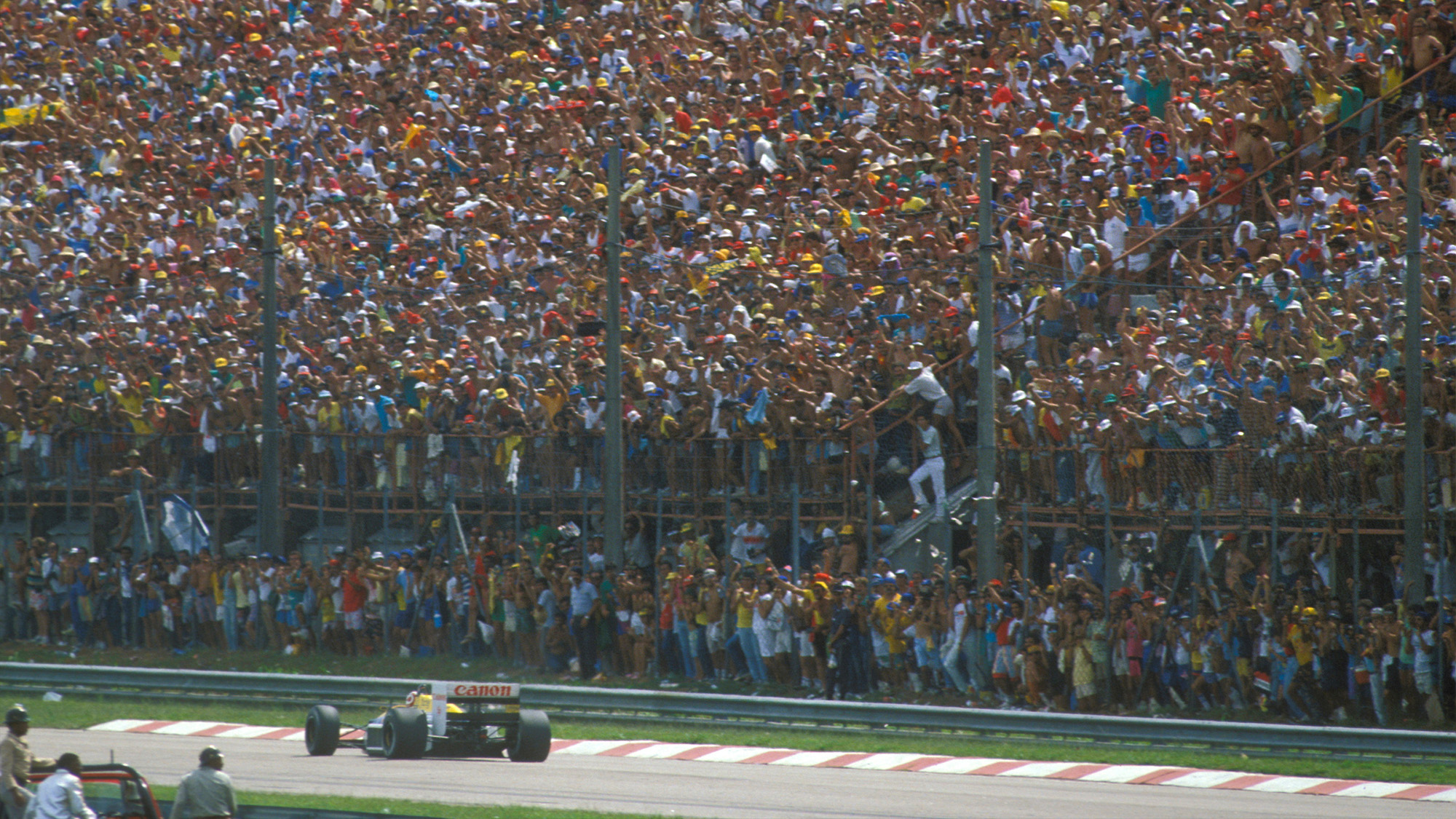 Nelson Piquet in front of a home crowd at the 1987 F1 Brazilian Grand Prix