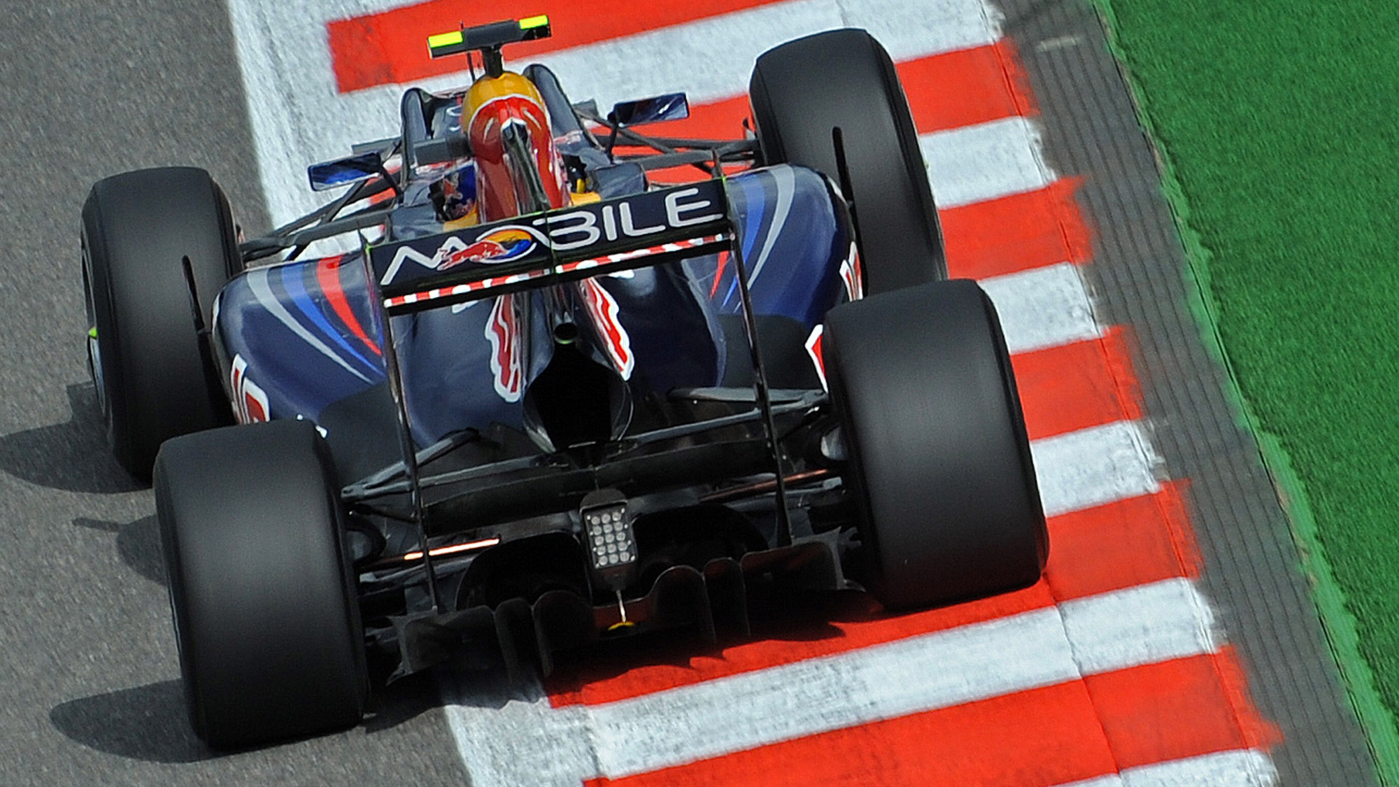 Rear view of Mark Webber's Red Bull at the 2010 Belgian Grand Prix at Spa