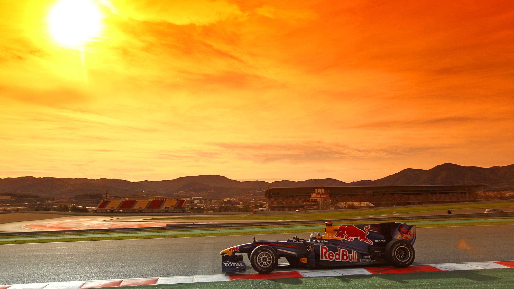 Sebastian Vettel's Red Bull during 2010 preseason F1 testing at Barcelona