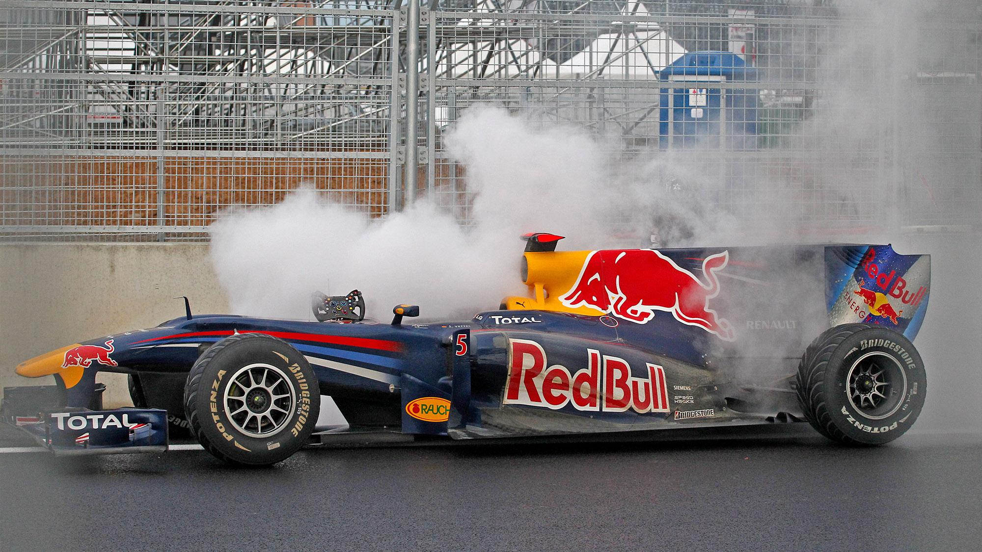 Sebastian Vettel's smoking Red Bull at the 2010 Korean Grand Prix