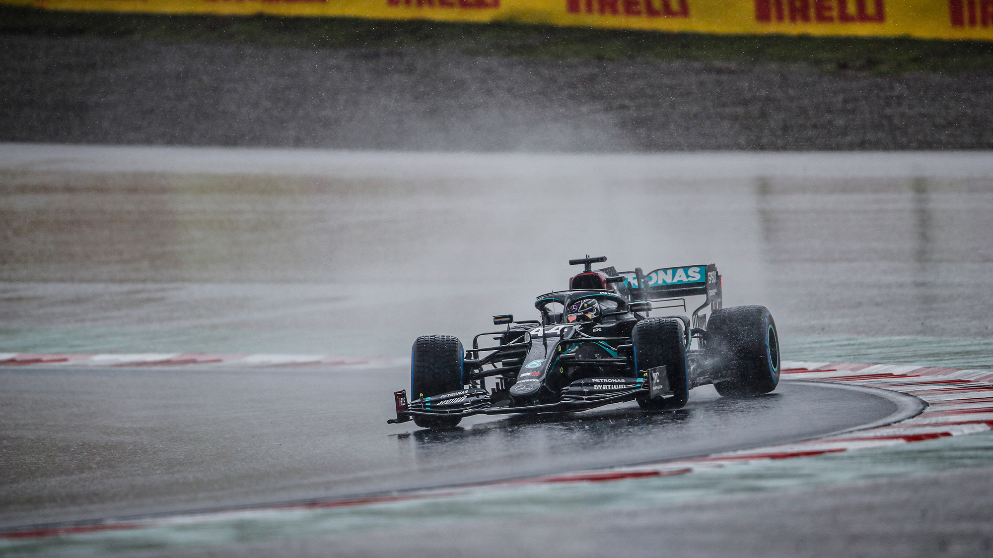 Lewis Hamilton slides his Mercedes round the Istanbul Park circuit during the 2020 F1 Turkish Grand Prix weekend