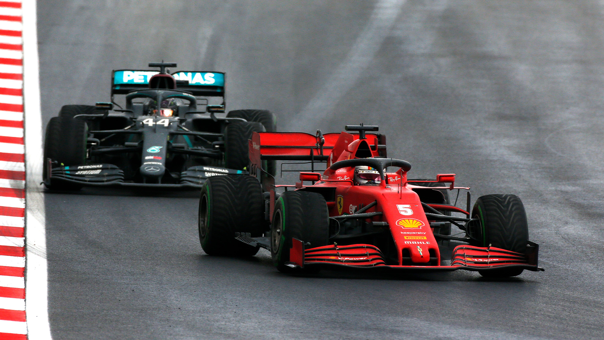 Lewis Hamilton's Mercedes follows the Ferrari of Sebastian Vettel at Istanbul PArk in the 2020 F1 Turkish Grand Prix