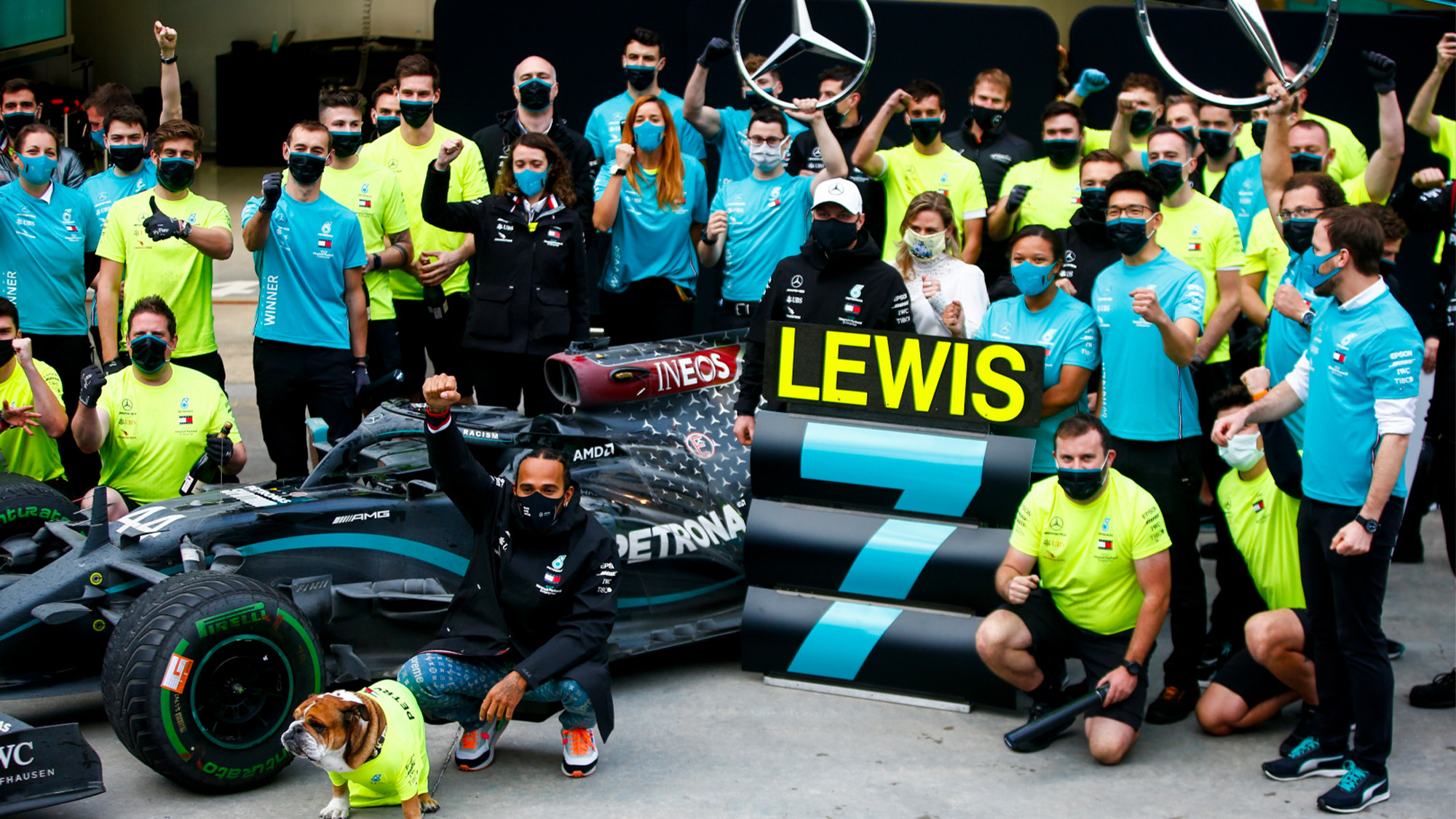 Lewis Hamilton celebrates his seventh F1 World Championship with the Mercedes team after the 2020 Turkish Grand Prix