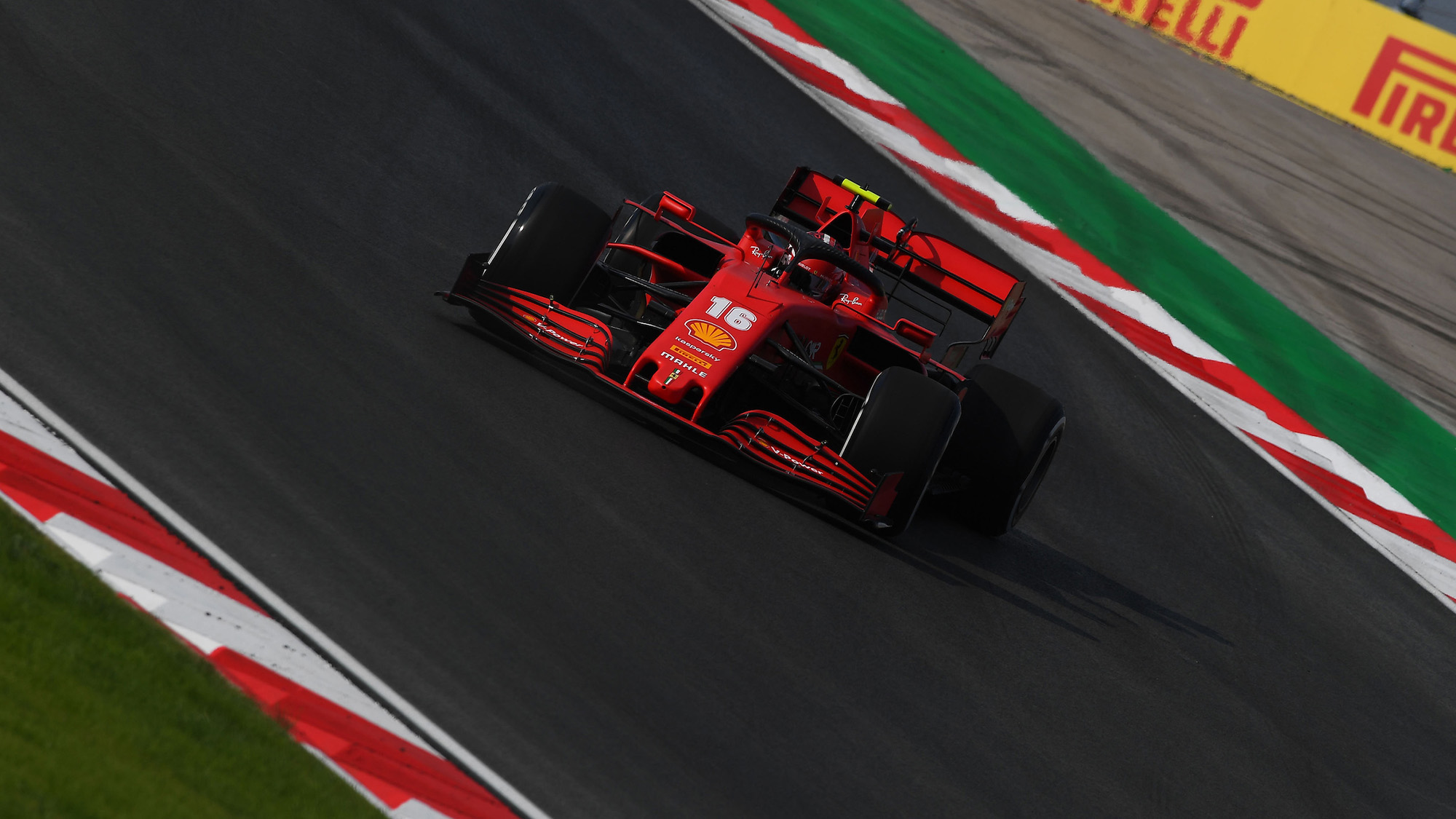 Charles Leclerc slides on the slippery Istanbul PArk circuit ahead of the 2020 F1 Turkish Grand prix