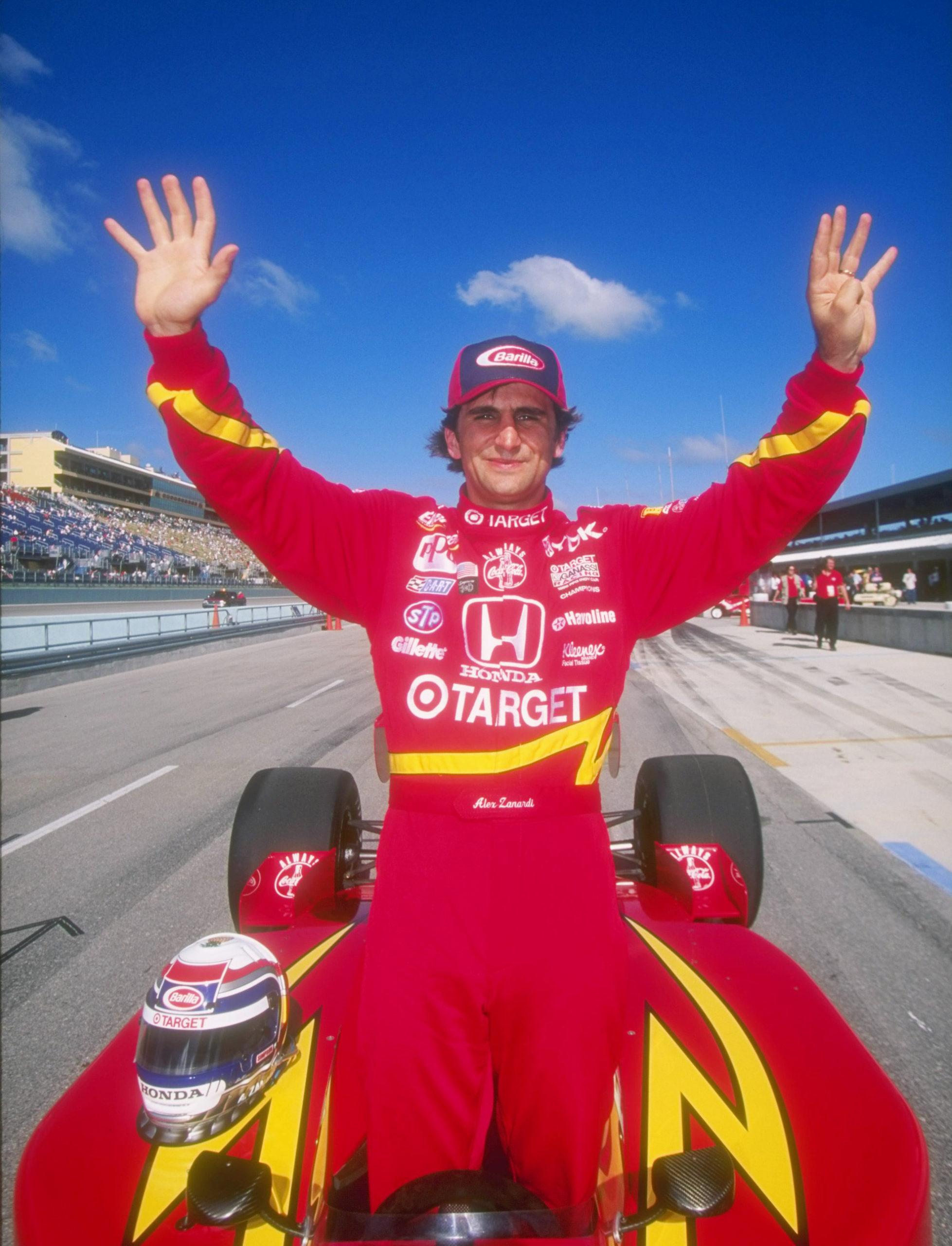 Alex Zanardi of Italy celebrates during the Marlboro Grand Prix in Homestead, Florida.
