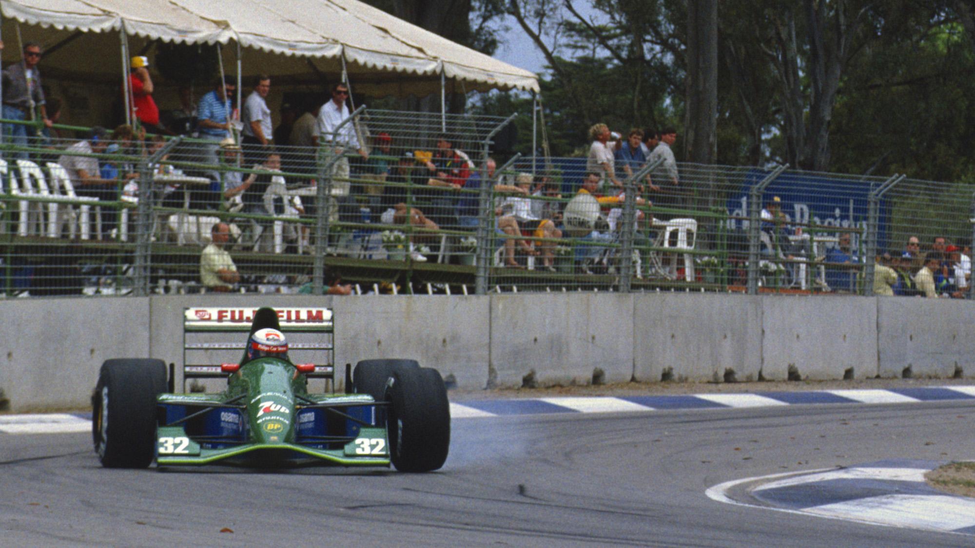 Alex Zanardi braking in the 1991 Jordan 191 at the Australian Grand Prix in Adelaide
