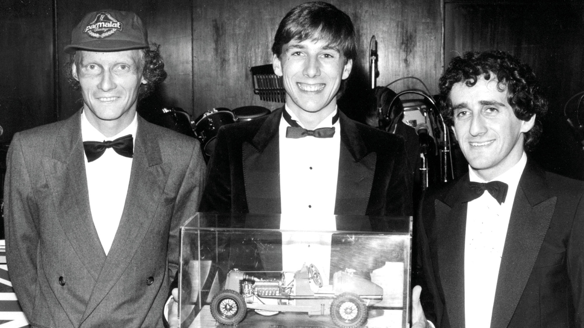 Johnny Dumfries Niki Lauda Alain Prost Grovewood Award 1983