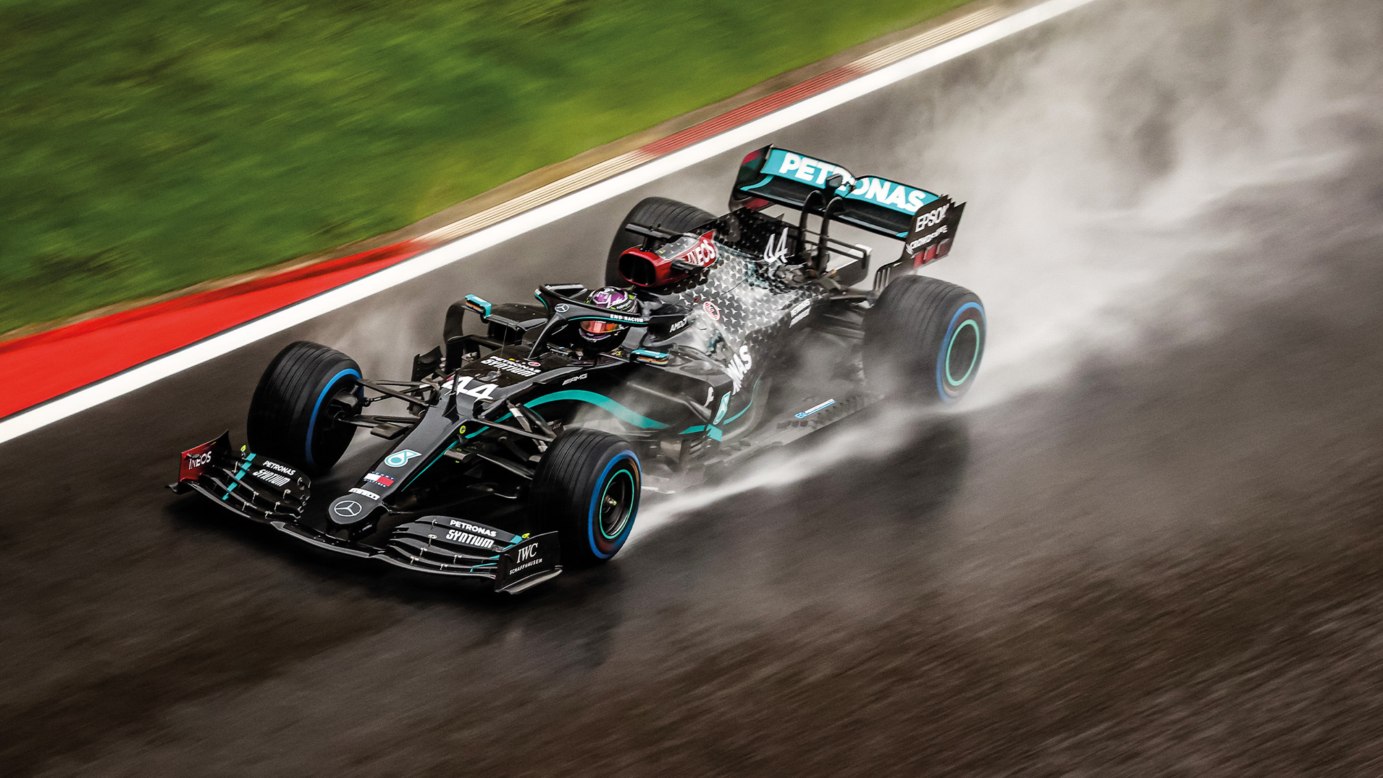 Lewis Hamilton powers through the rain at a wet Istanbul Park ahead of the 2020 Turkish Grand Prix