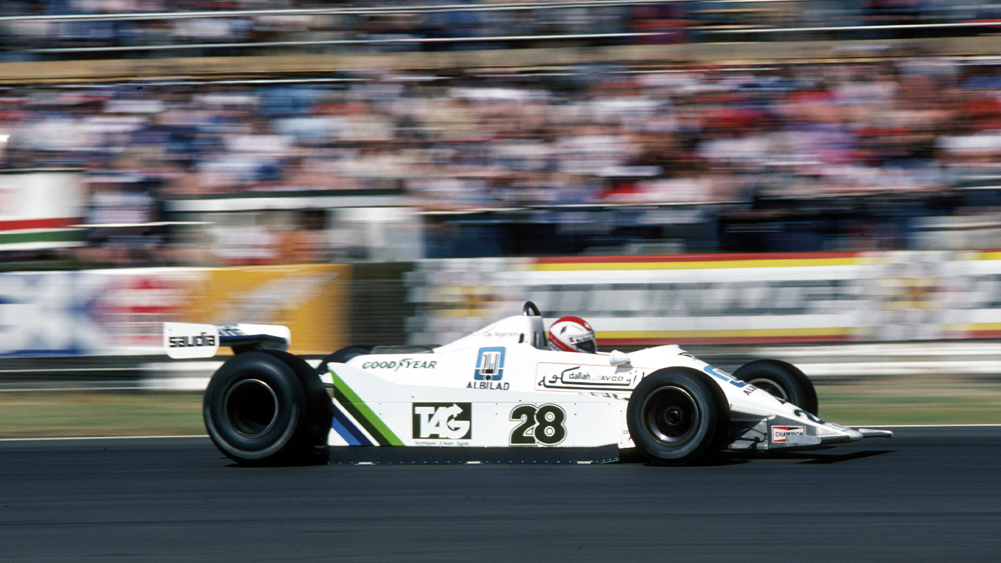Clay Regazzoni at Silverstone on his way to winning the first F1 race for Williams at the 1979 British Grand Prix