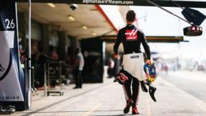 Romain Grosjean walks down the pitlane during the 2020 F1 season