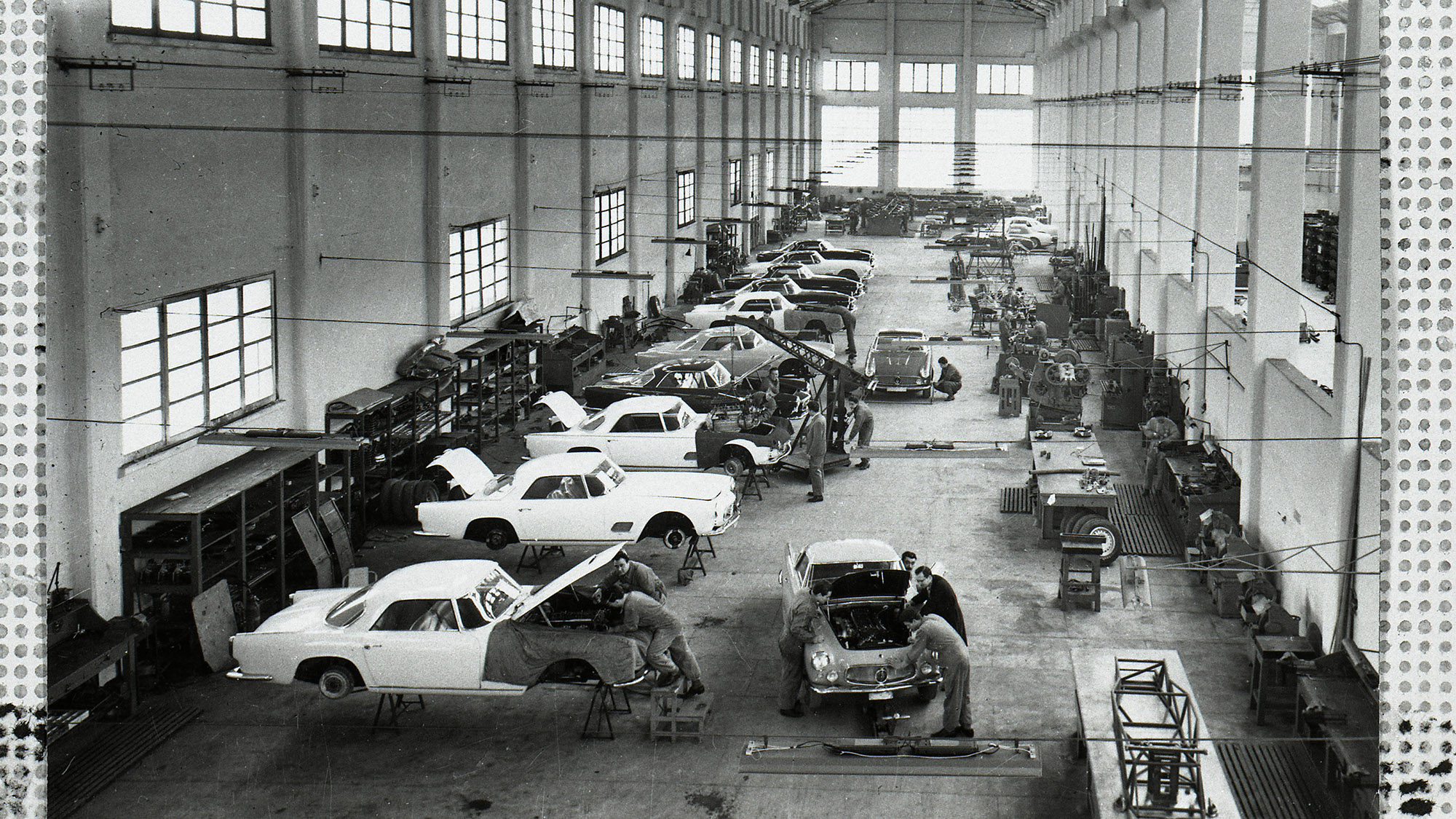 Maserati Modena factory in 1958 during a 3500GT production run