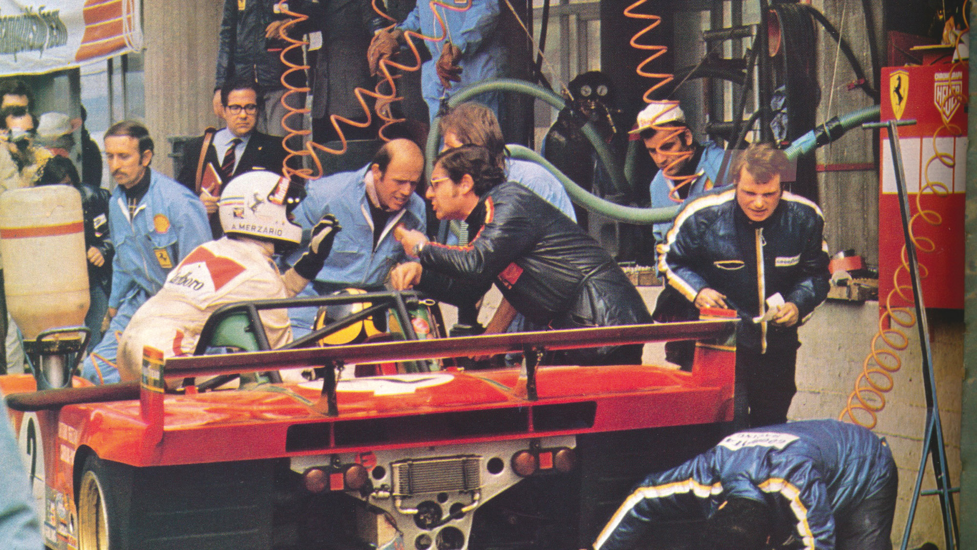 Arturo Merzario refuses to get out of his Ferrari at the 1973 Nurburgring 1000Kms