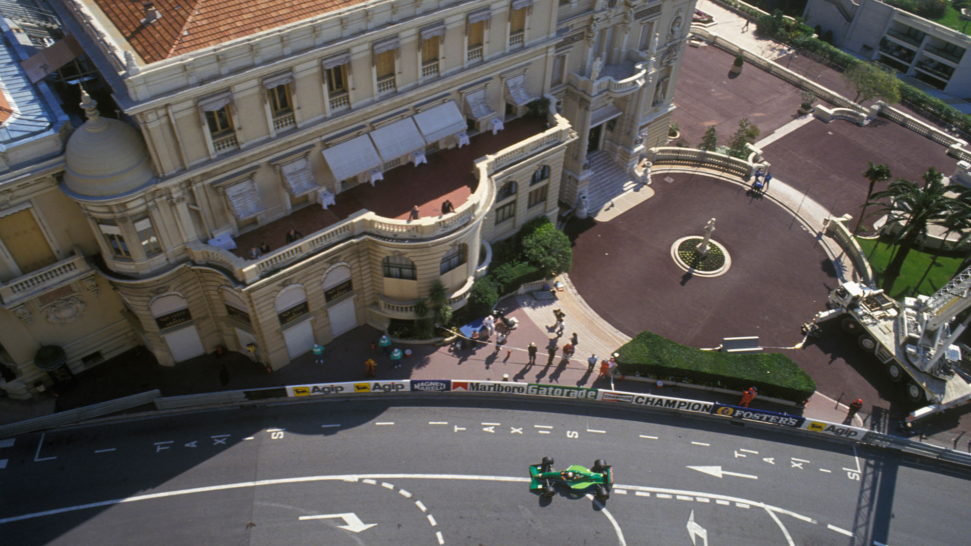 Andrea de Cesaris (Jordan-Ford) seen from above with the Casino in the background durng the 1991 Monaco Grand Prix. Photo: Grand Prix Photo / Dominique Leroy